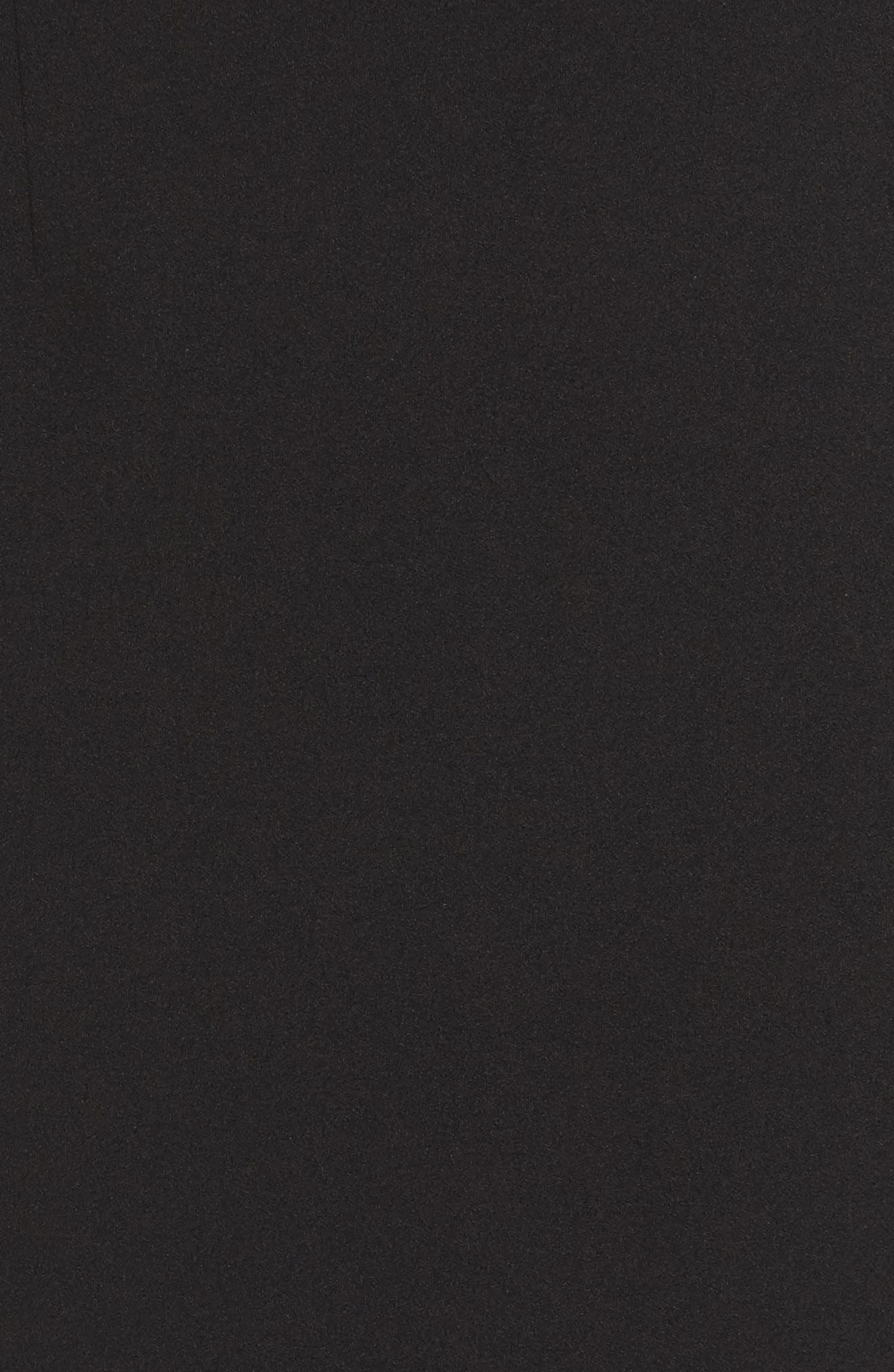 Hannah One-Shoulder Crepe Trumpet Gown,                             Alternate thumbnail 5, color,                             BLACK