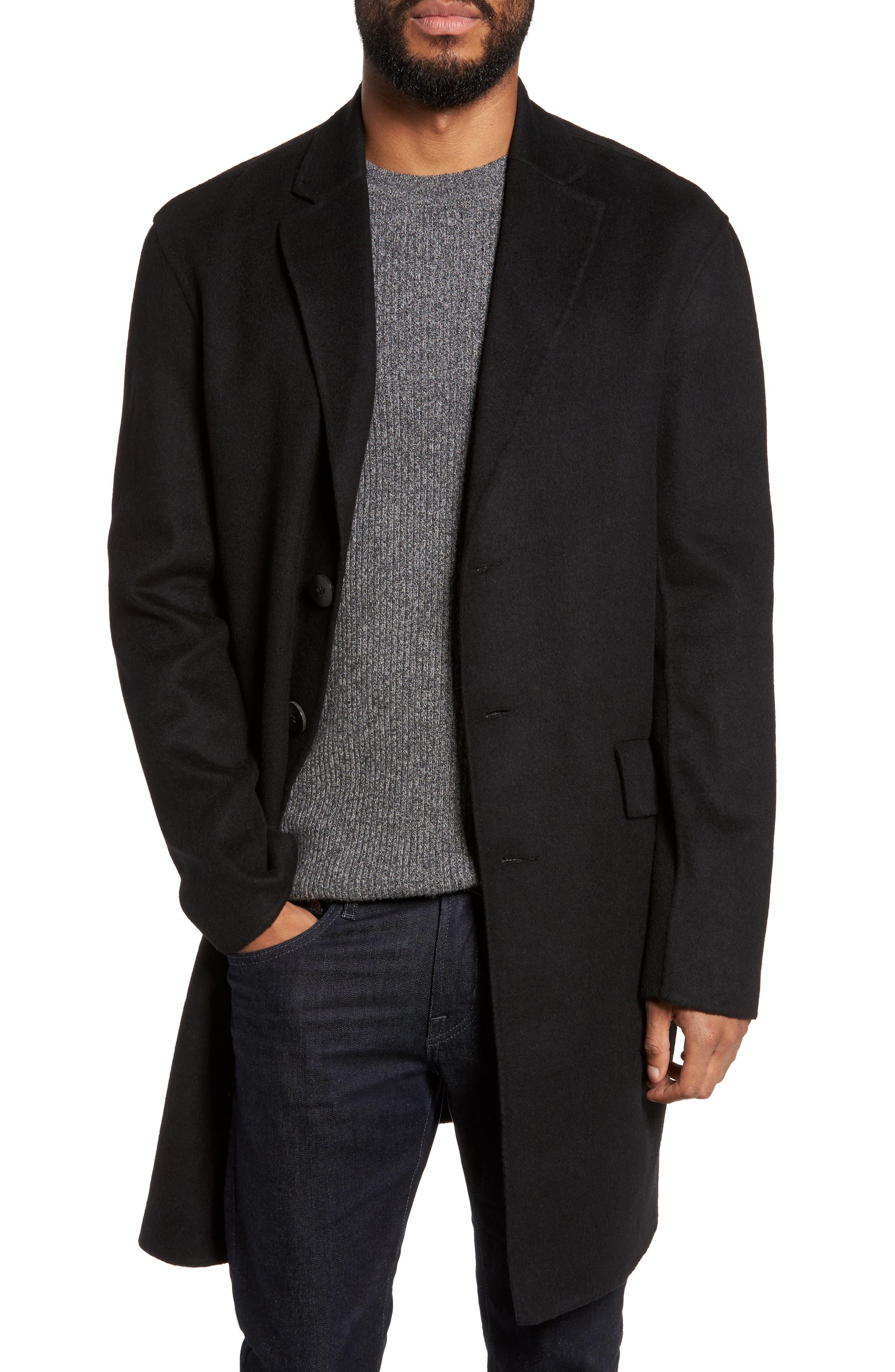 Wool Blend Topcoat,                         Main,                         color, BLACK