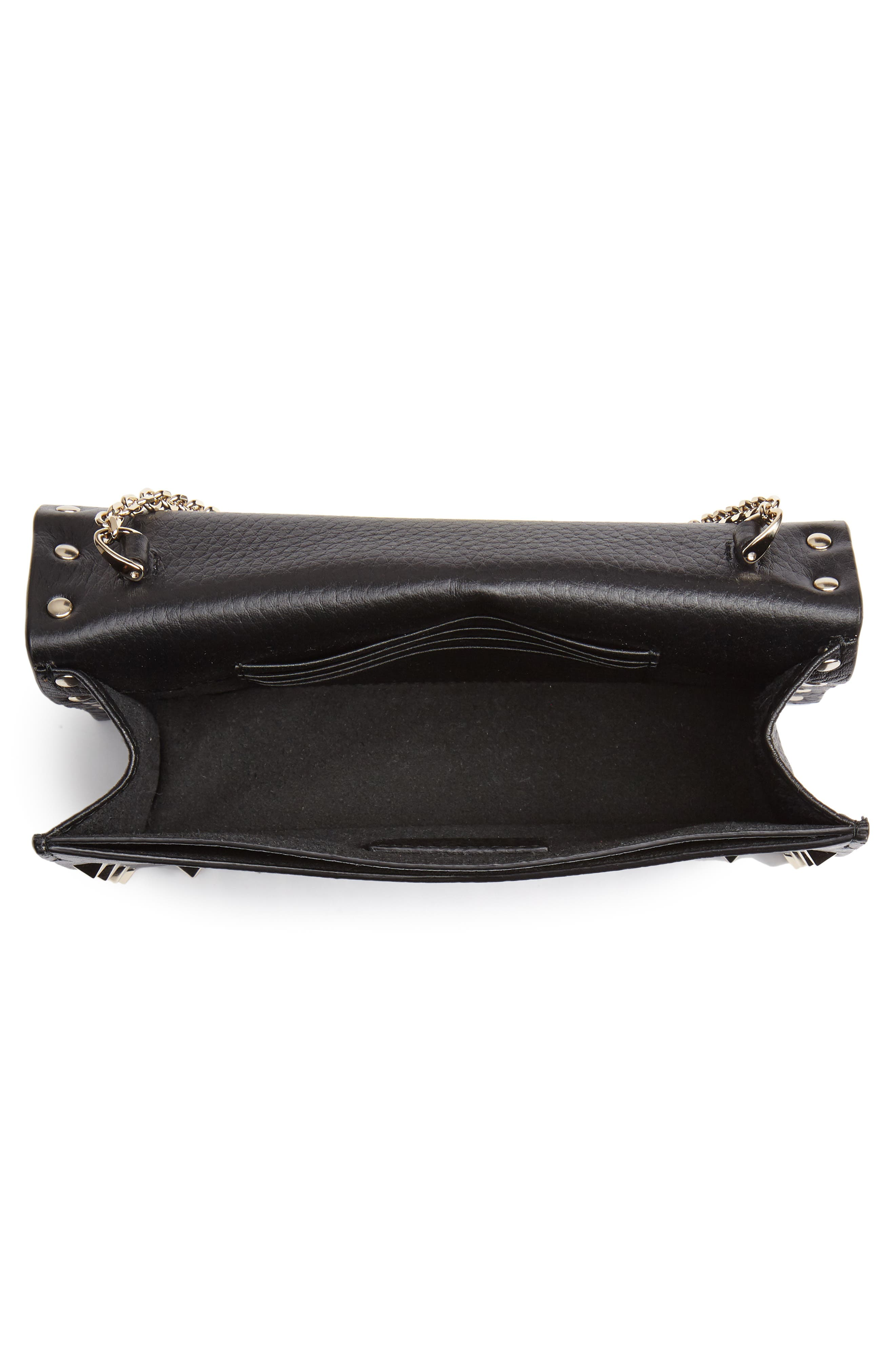 VALENTINO GARAVANI,                             Rockstud Calfskin Leather Envelope Pouch,                             Alternate thumbnail 4, color,                             NERO