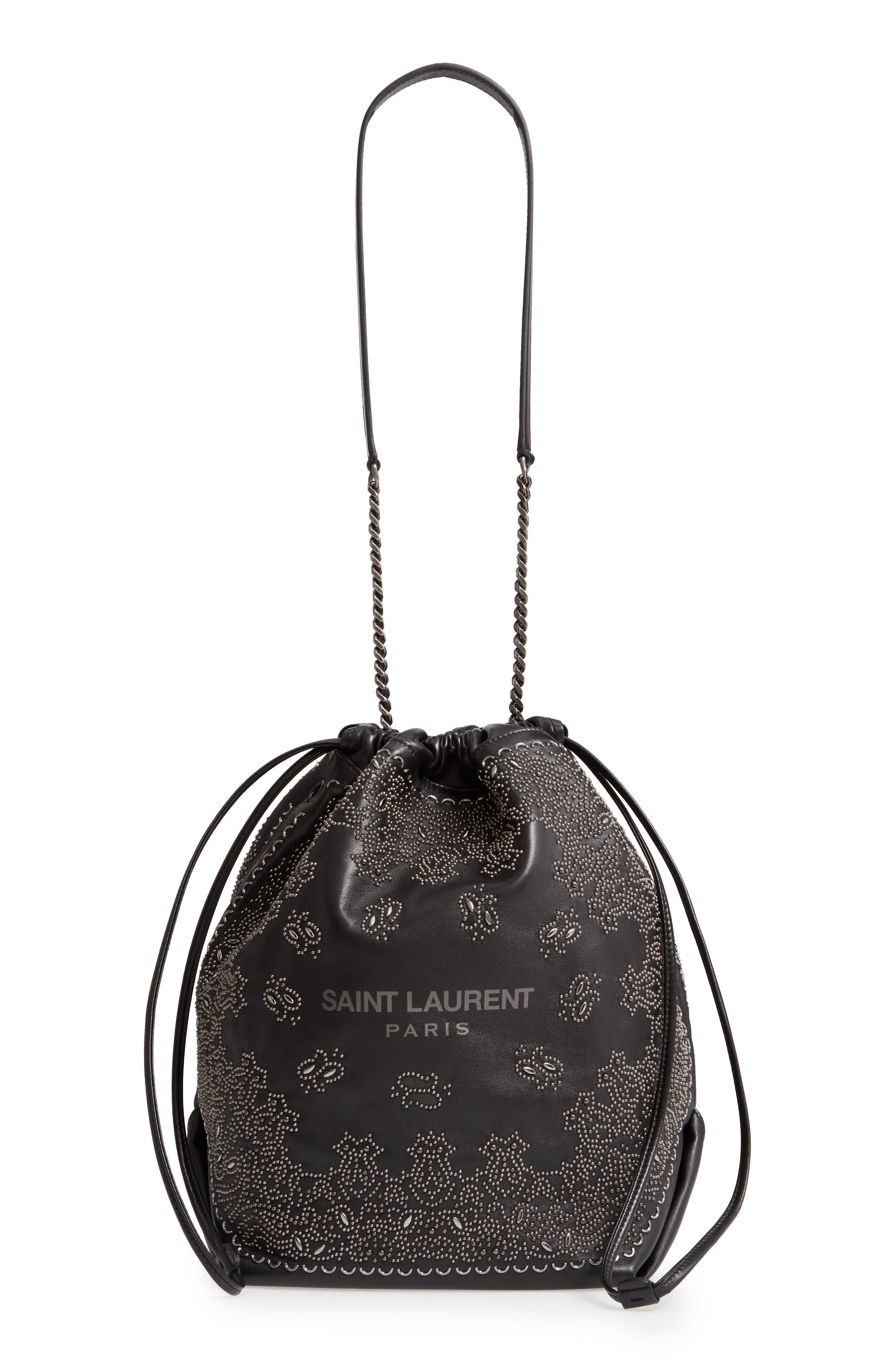 Teddy Bandana Studded Leather Bucket Bag, Main, color, NOIR