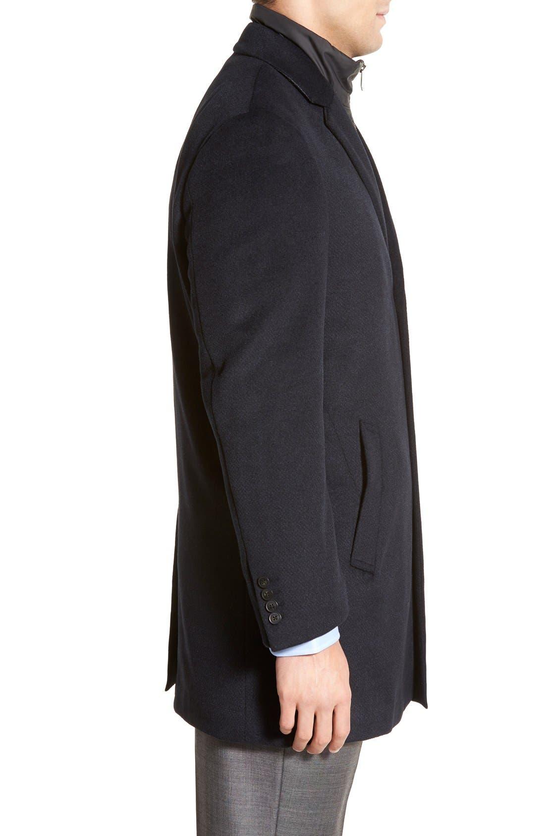 Kingman Modern Fit Wool Blend Coat with Removable Zipper Bib,                             Alternate thumbnail 6, color,
