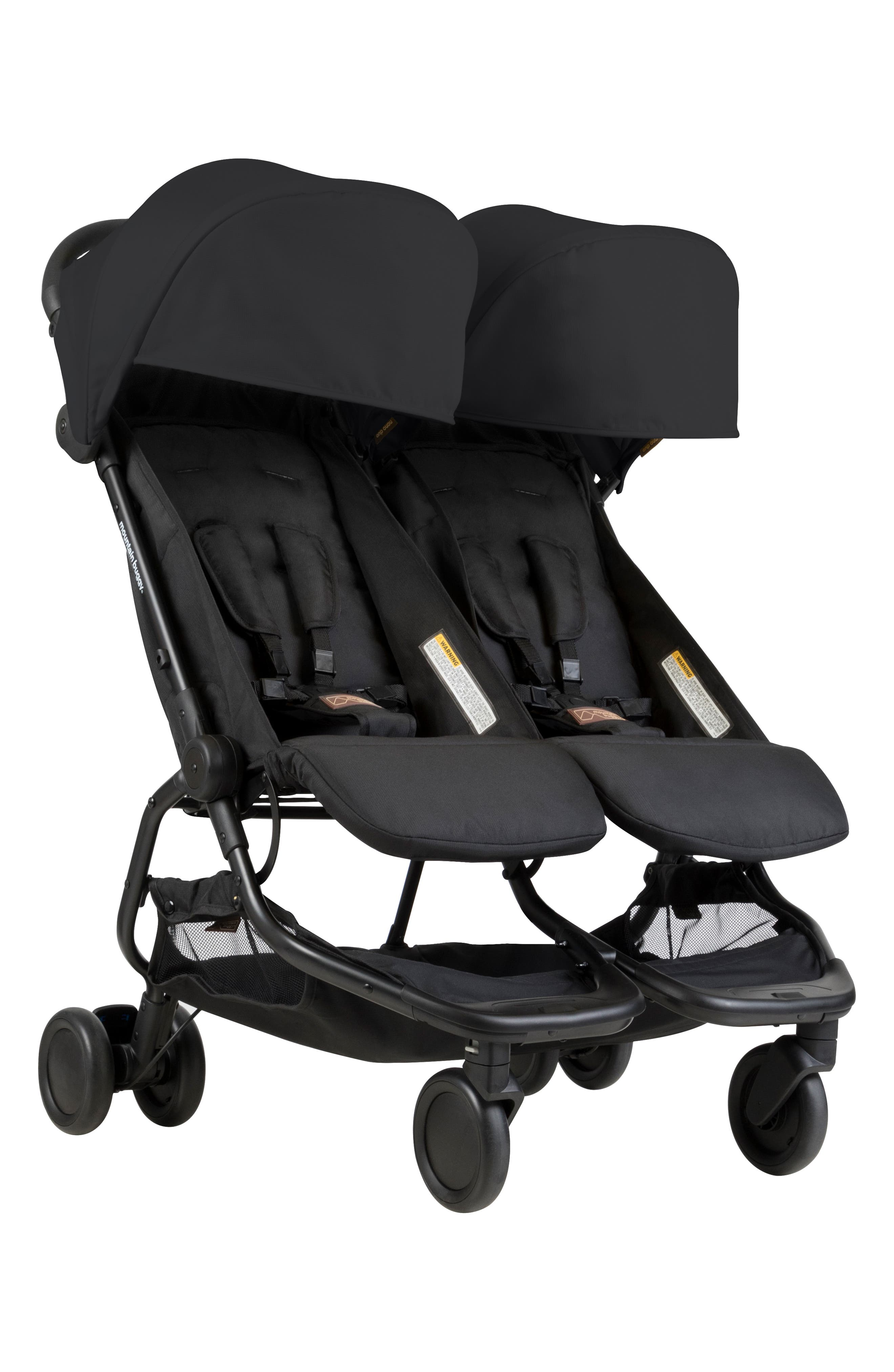 Nano Duo Double Stroller,                             Main thumbnail 1, color,                             BLACK
