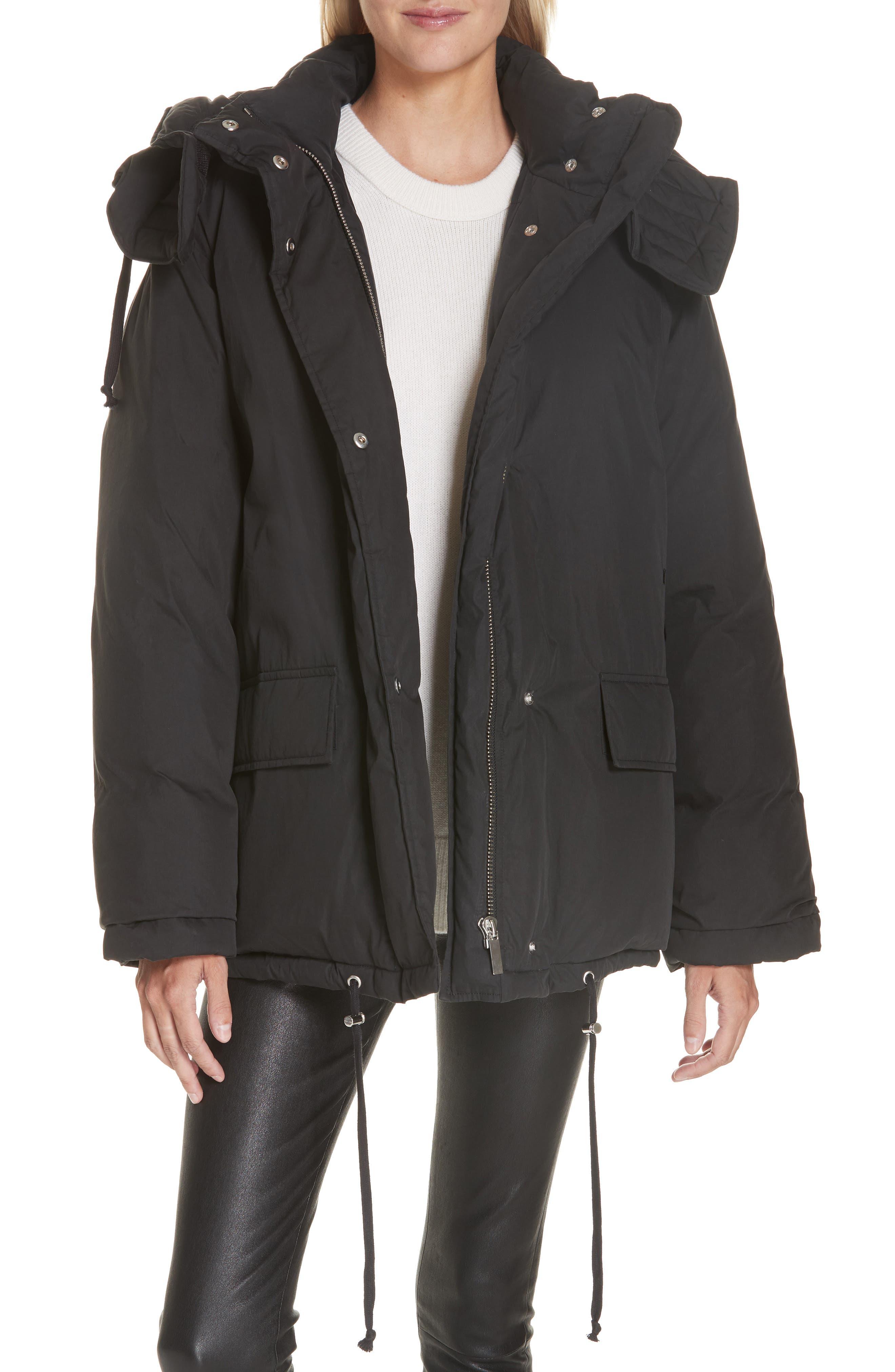 Removable Hood Puffer Jacket,                             Main thumbnail 1, color,                             BLACK