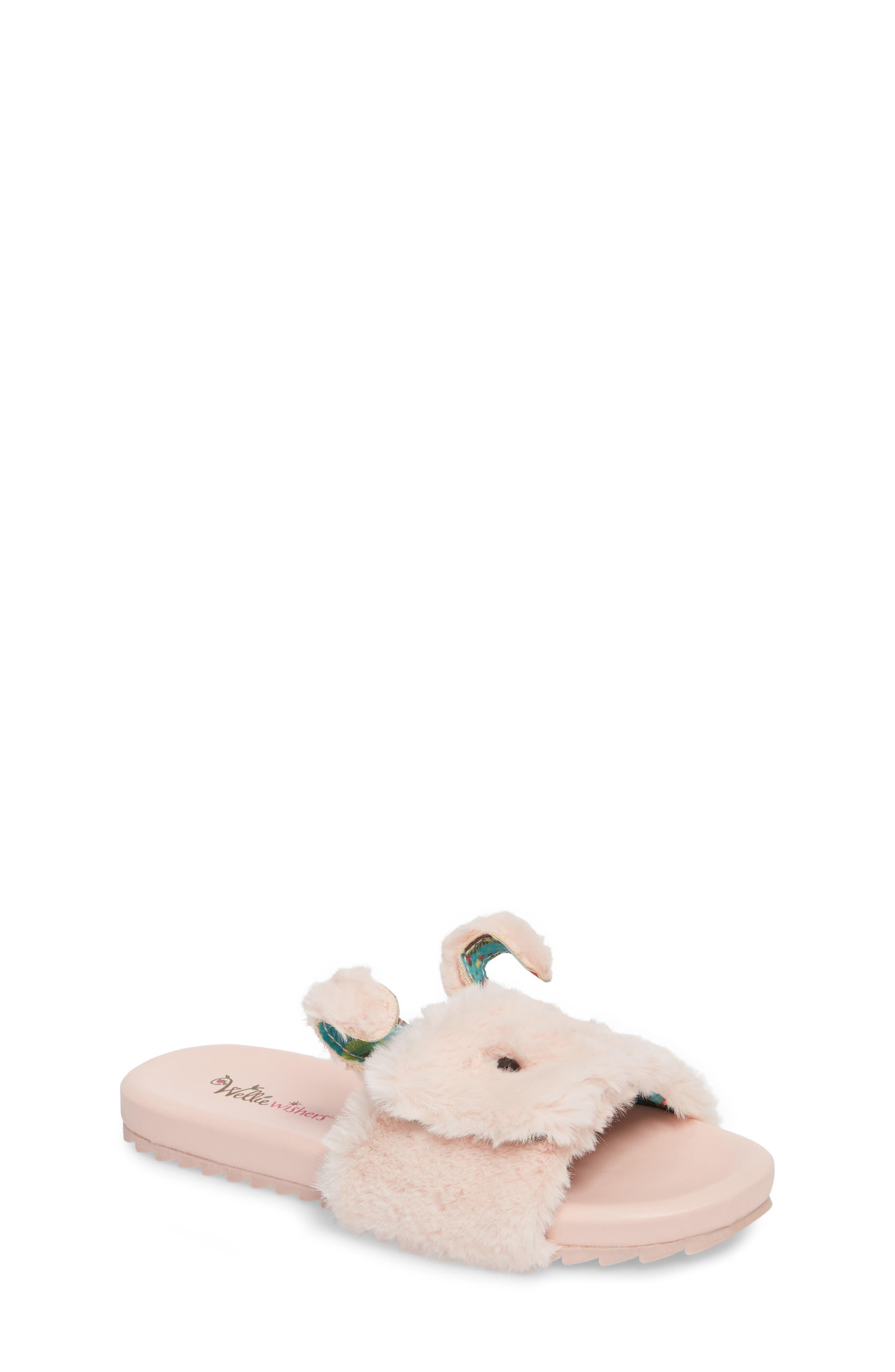 Willa Carrot Faux Fur Slide Sandal,                             Main thumbnail 1, color,                             650
