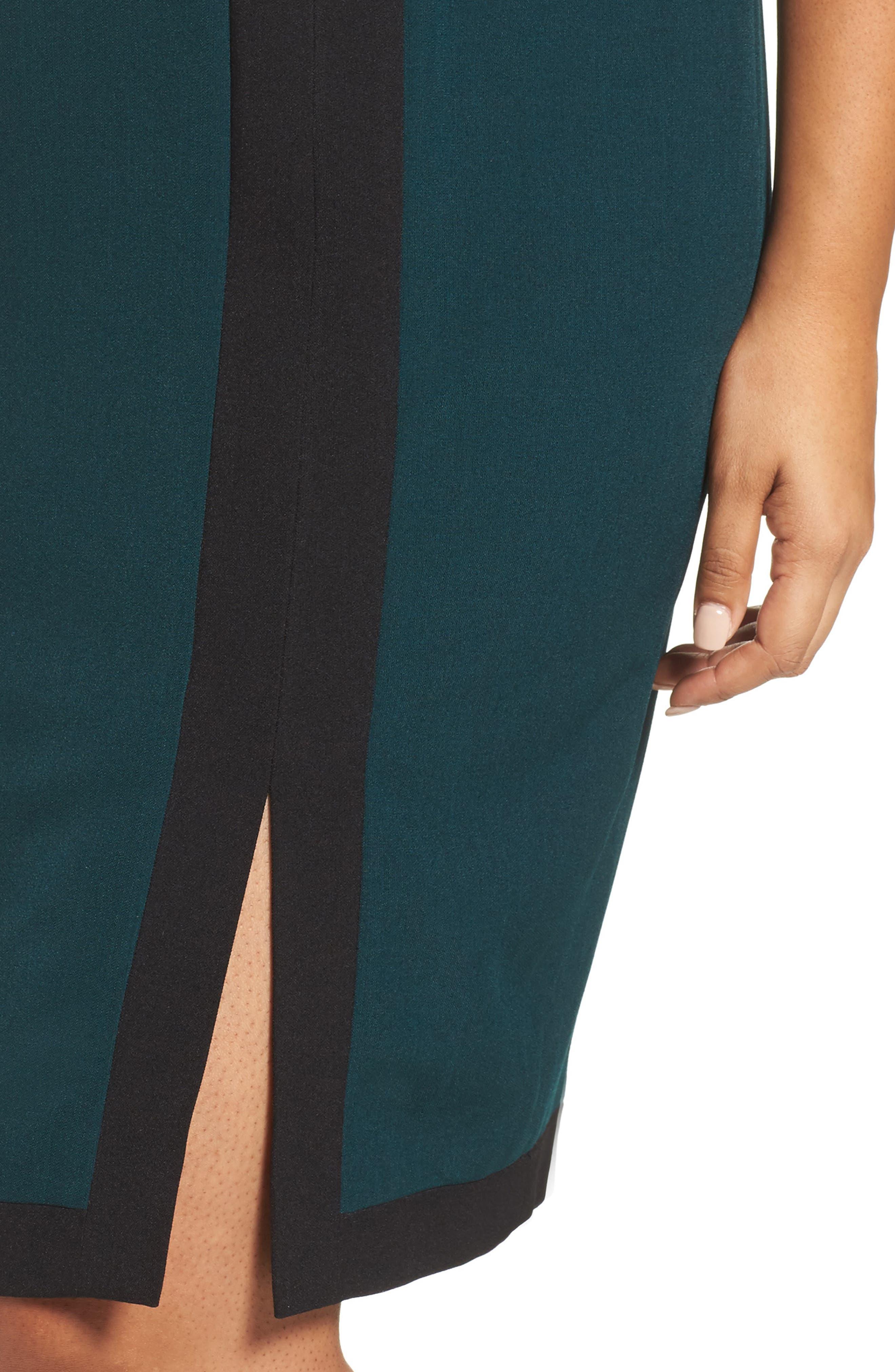 Scuba & Crepe Sheath Dress,                             Alternate thumbnail 4, color,                             303