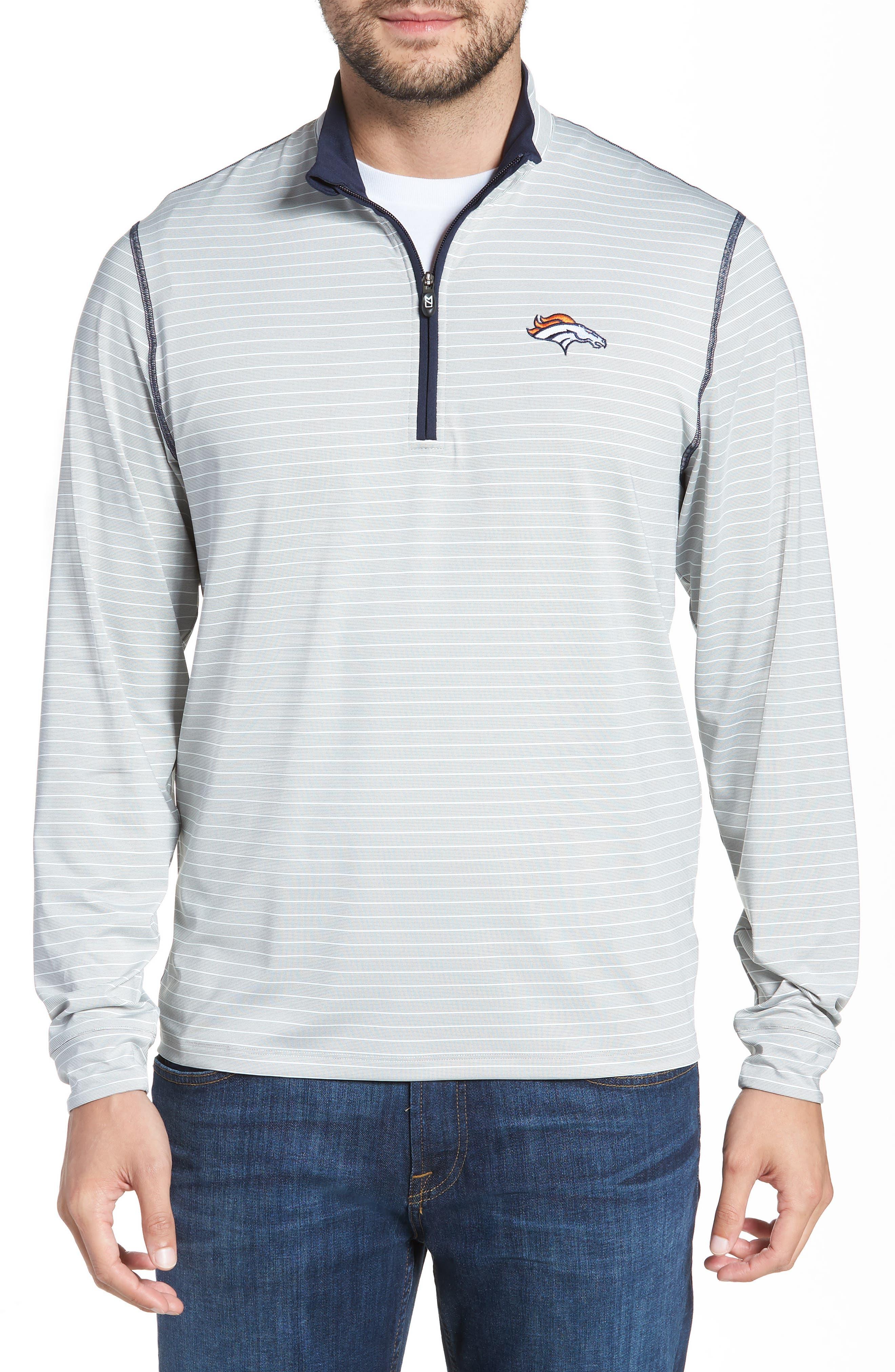 Meridian - Denver Broncos Regular Fit Half Zip Pullover,                         Main,                         color, NAVY
