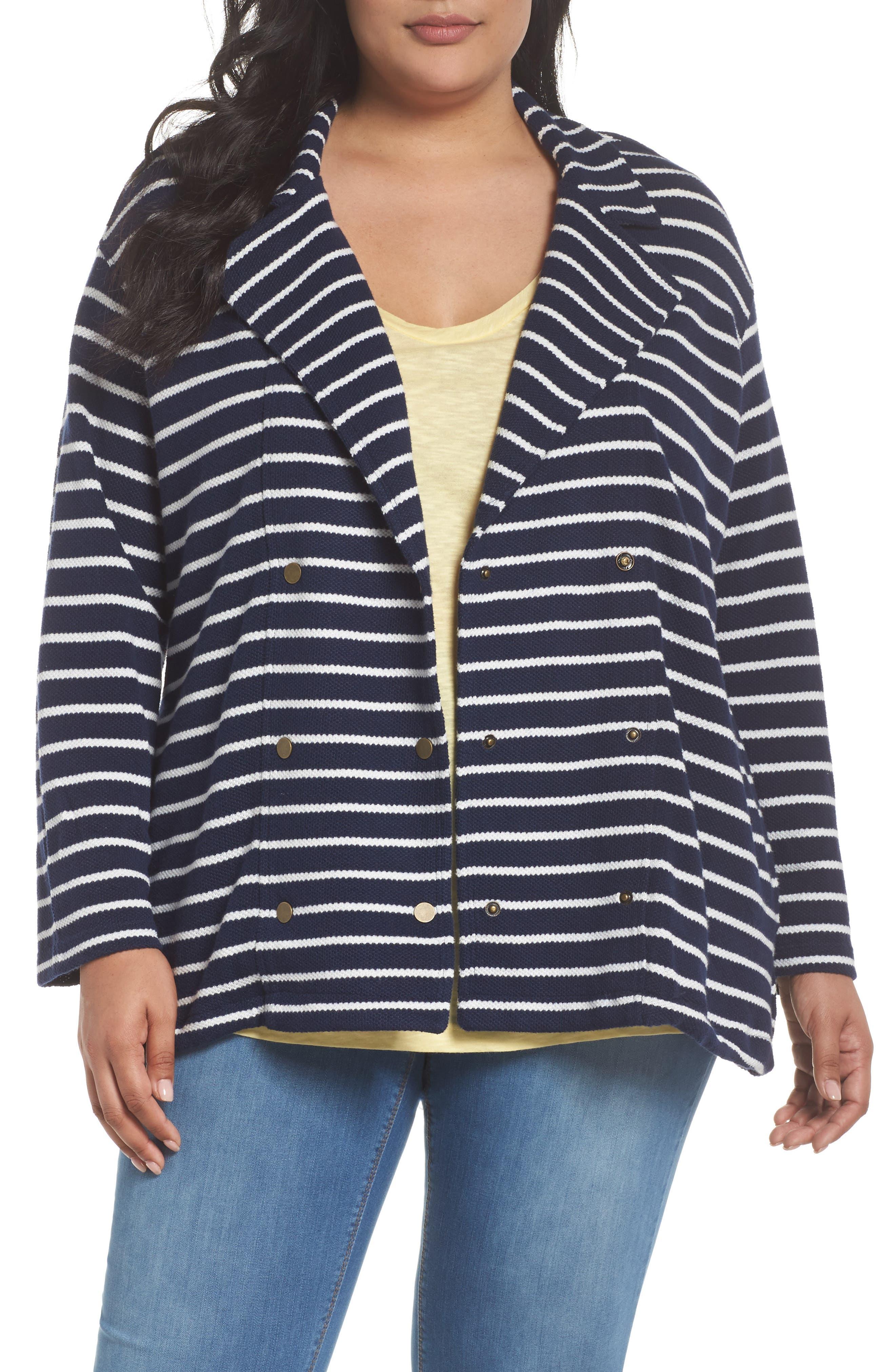 Stripe Peacoat Knit Jacket,                             Main thumbnail 1, color,                             410
