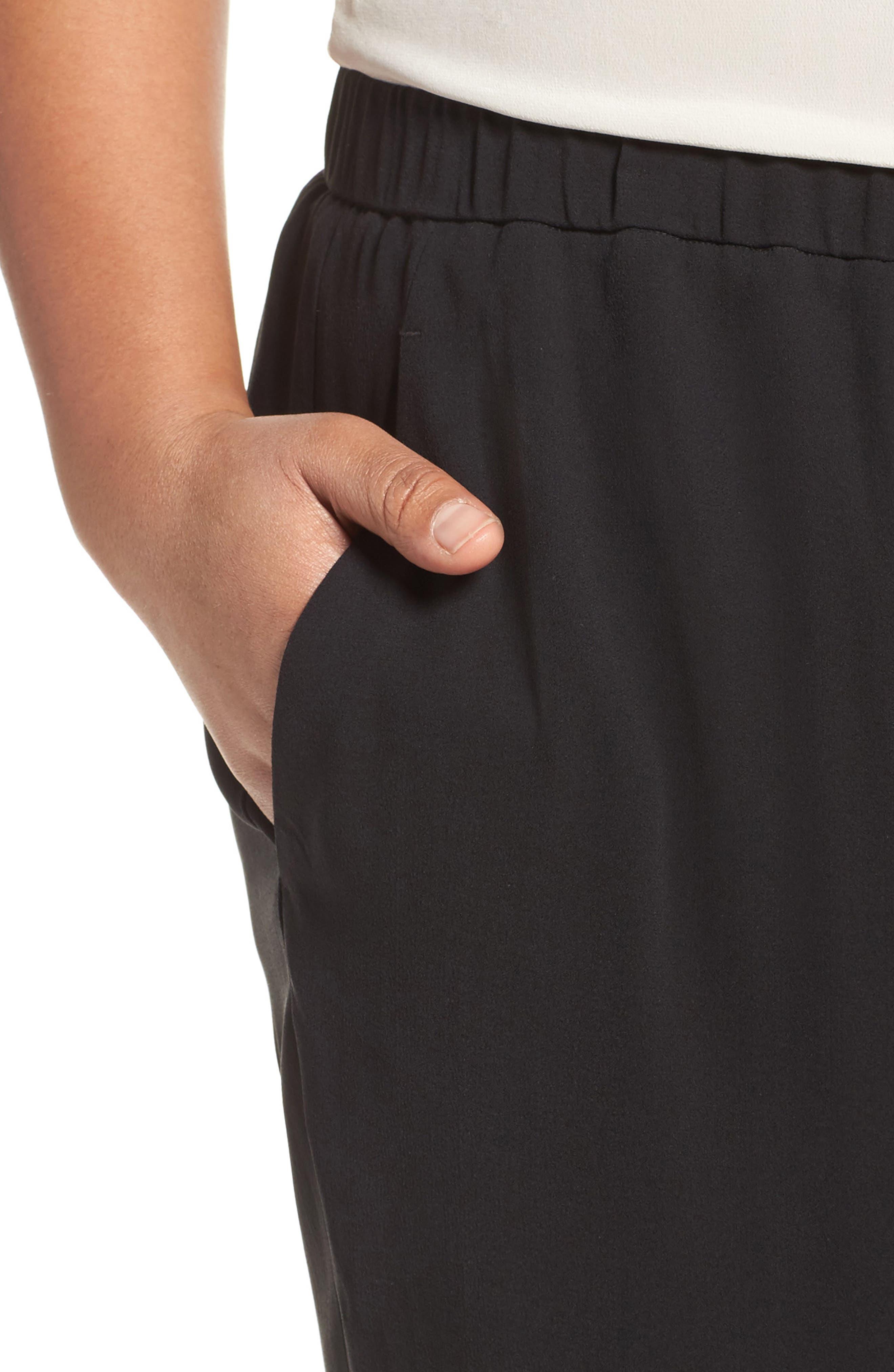 Silk Georgette Crepe Ankle Pants,                             Alternate thumbnail 4, color,                             001