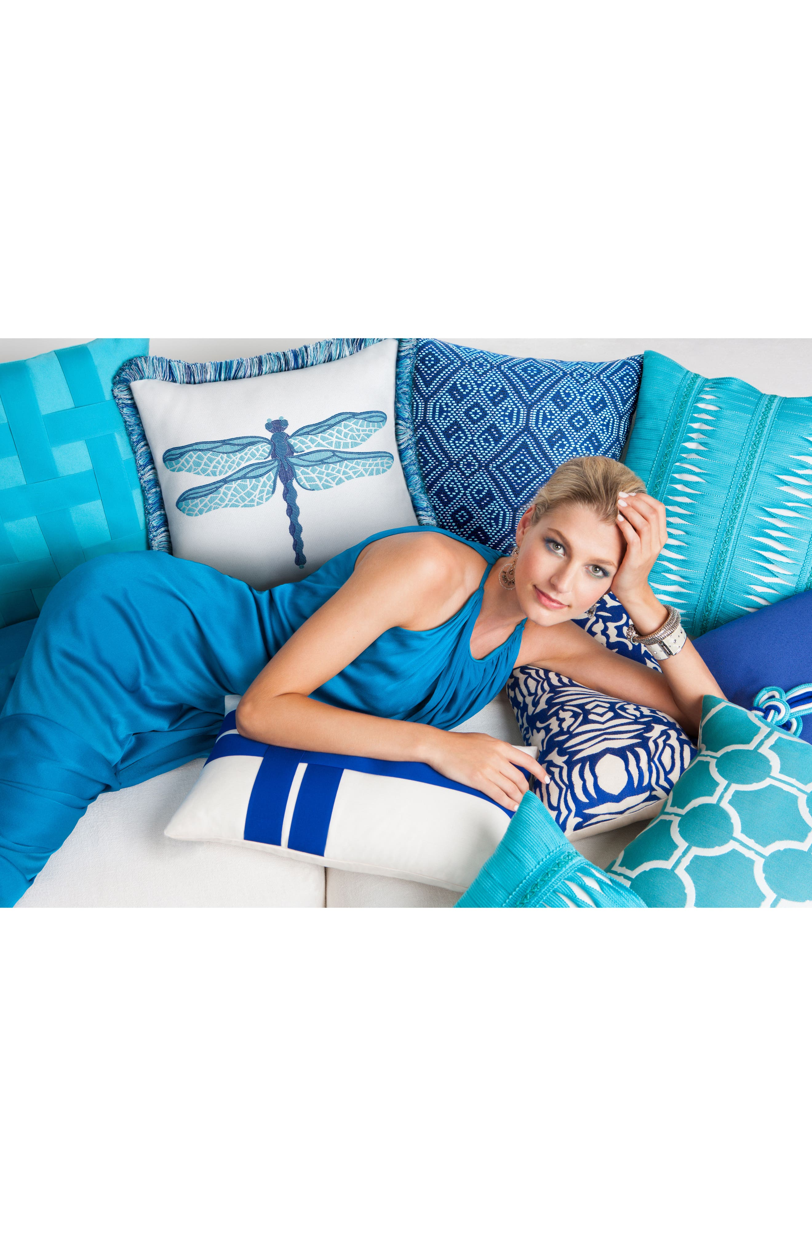 Midnight Tile Indoor/Outdoor Accent Pillow,                             Alternate thumbnail 3, color,                             BLUE