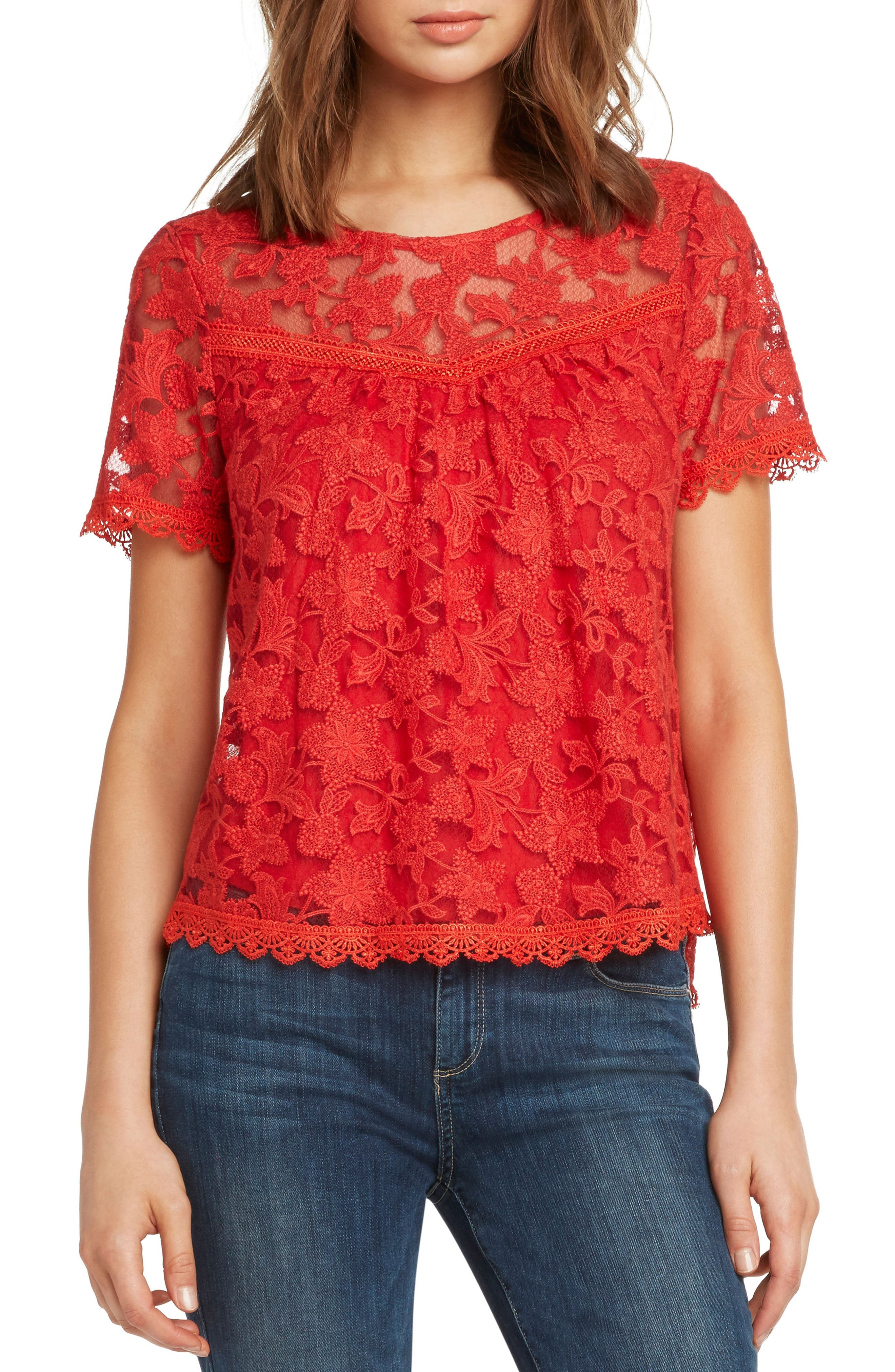 WILLOW & CLAY Inset Detail Lace Top, Main, color, 643