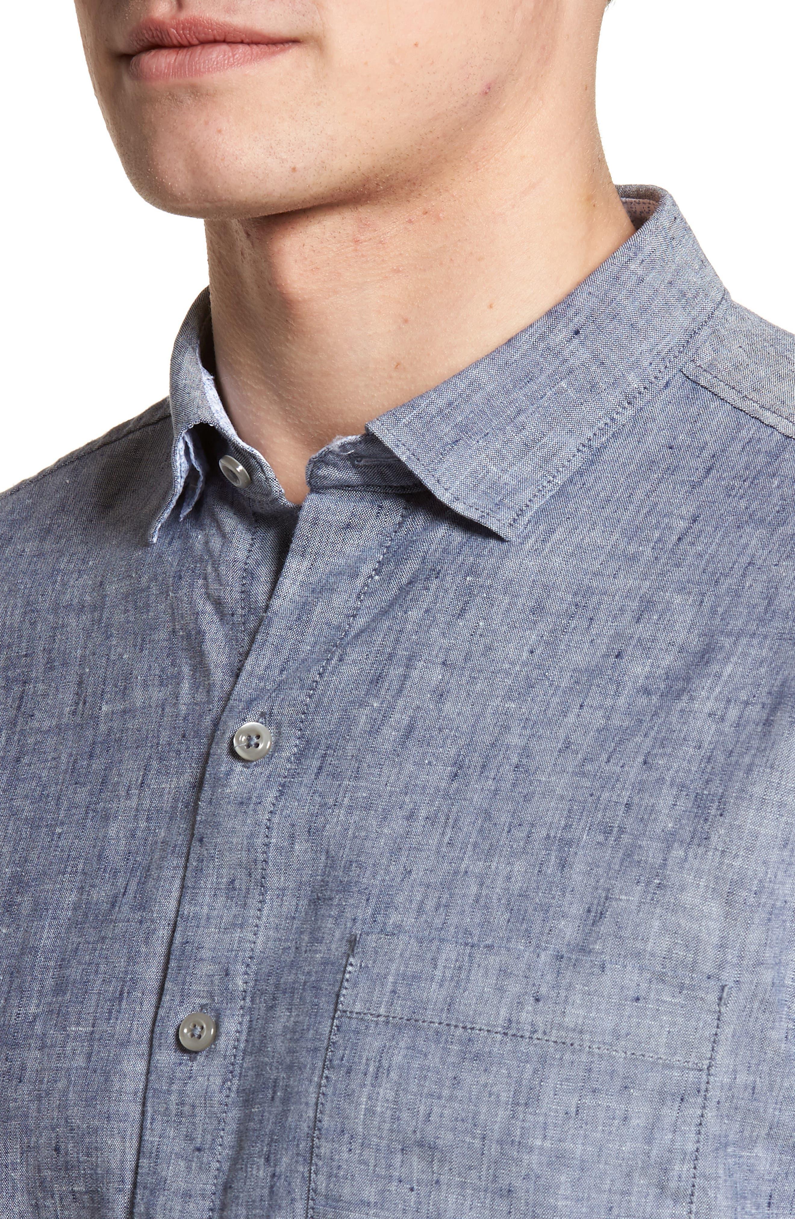 Lanai Tides Linen Blend Sport Shirt,                             Alternate thumbnail 8, color,