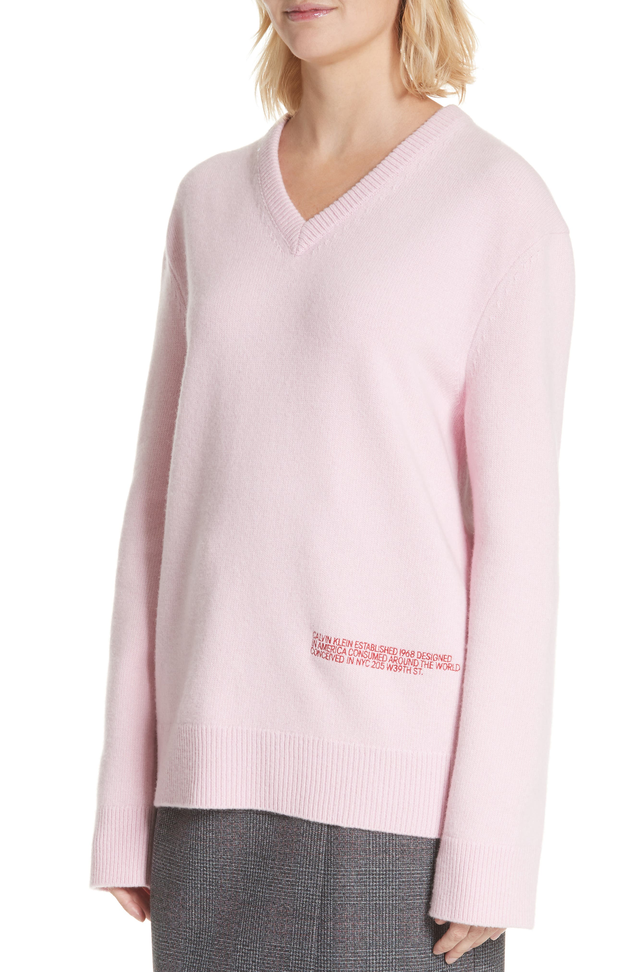 Logo Wool & Cotton Sweater,                             Alternate thumbnail 4, color,                             CHERRY BLOSSOM