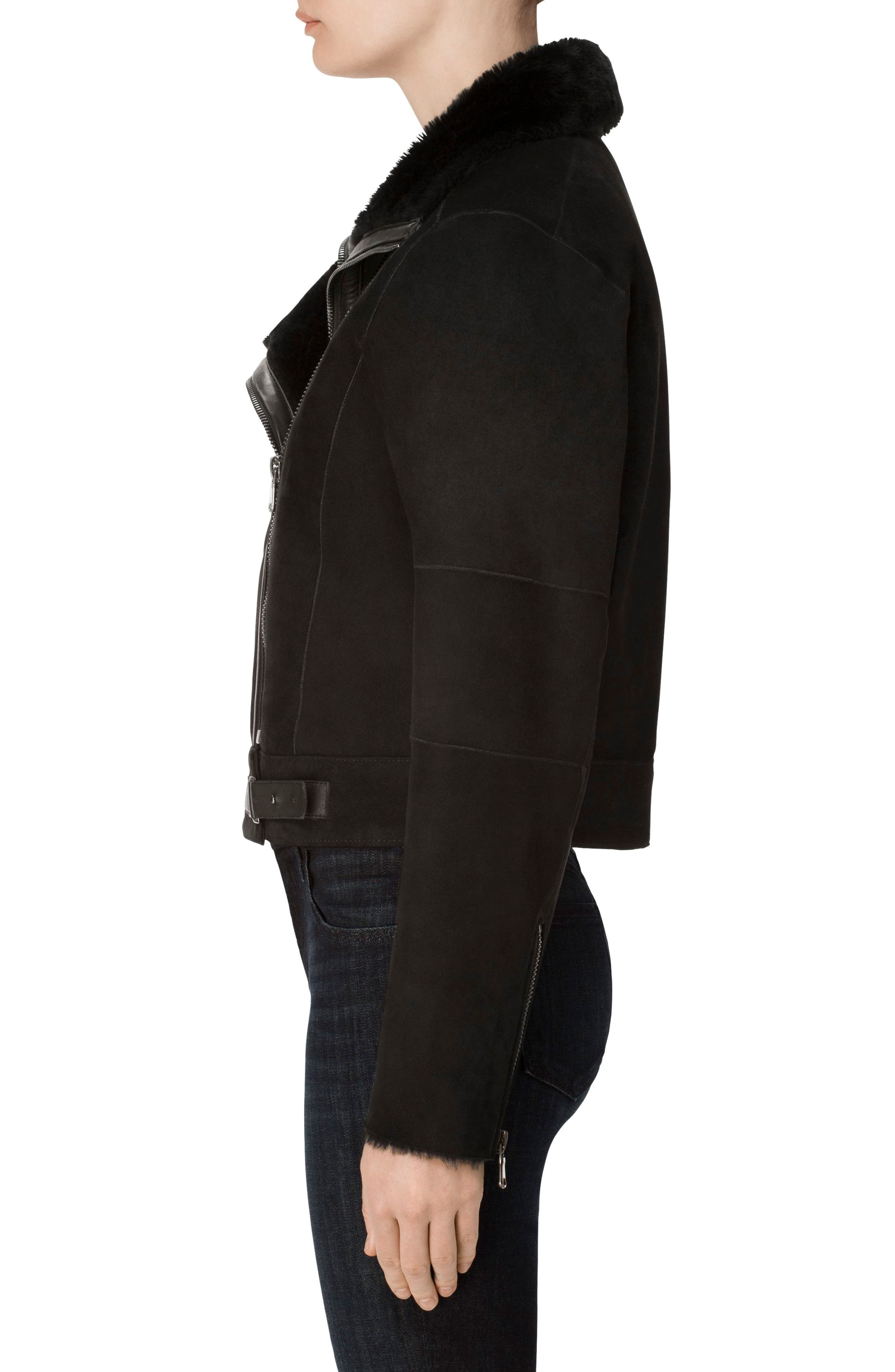 Camilla Suede Moto Jacket with Genuine Shearling,                             Alternate thumbnail 4, color,                             001