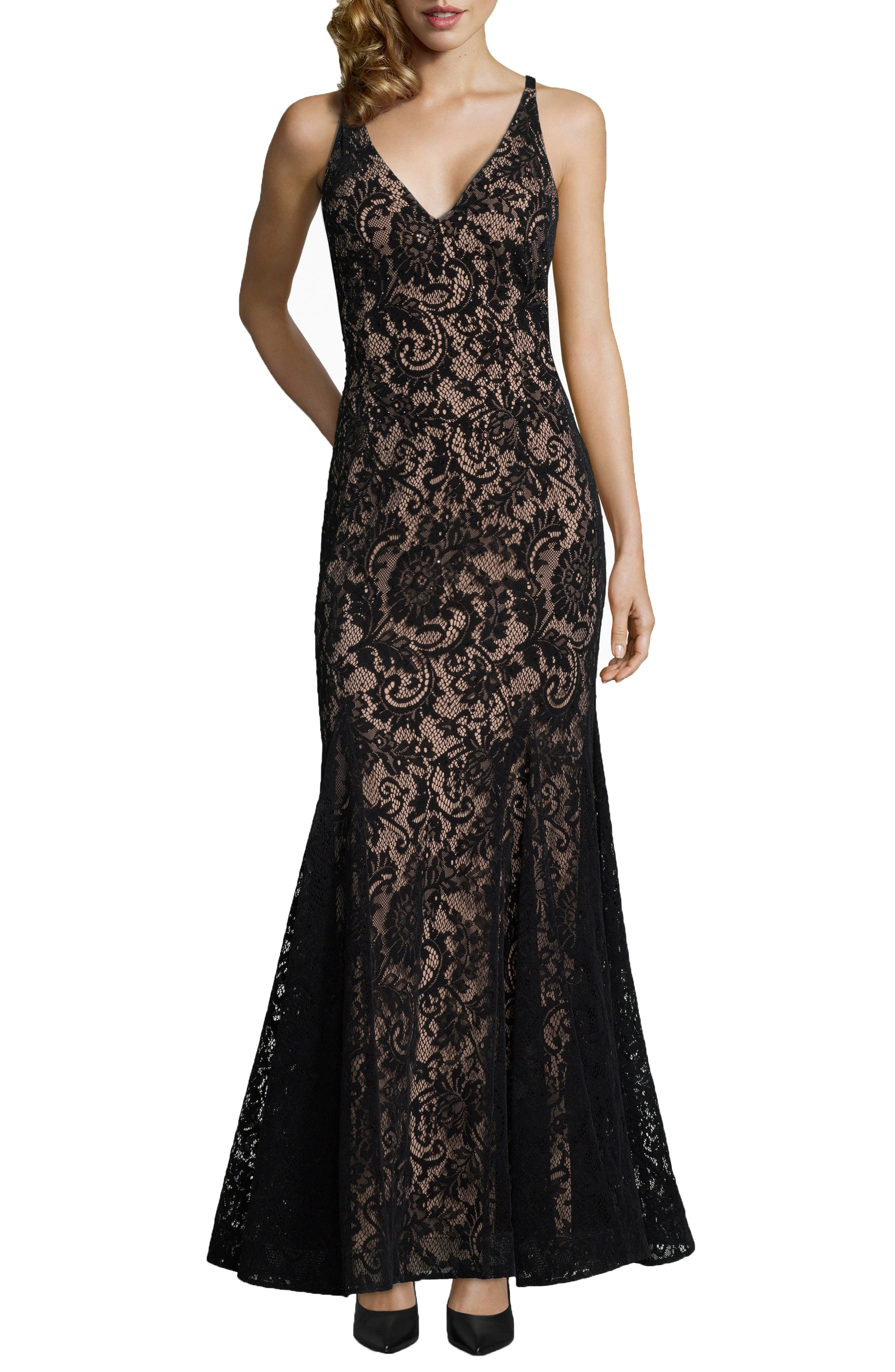 Sleeveless Flocked Lace Gown,                         Main,                         color, BLACK/ NUDE