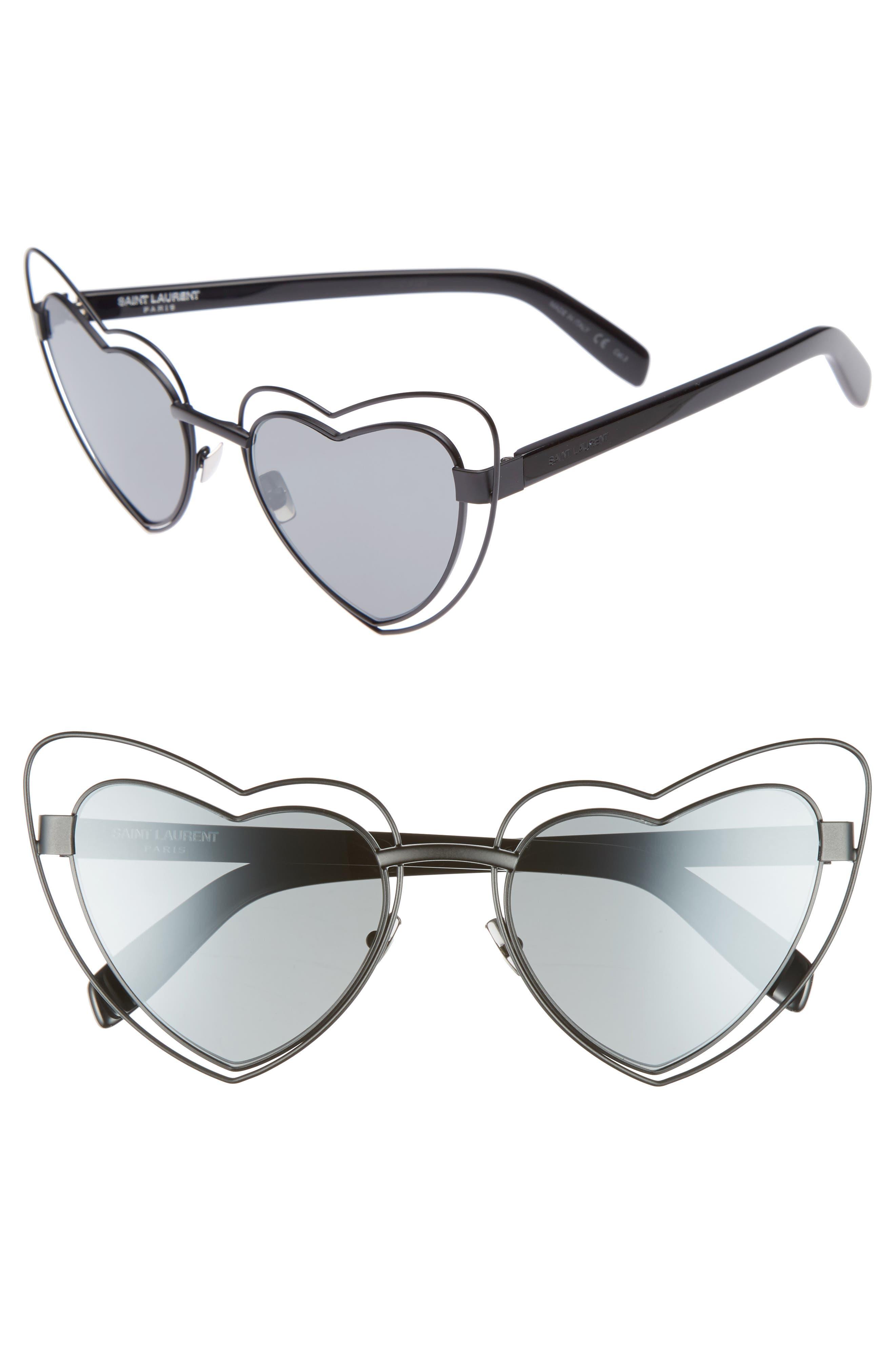 SL197 Loulou 57mm Heart Shaped Sunglasses,                             Main thumbnail 1, color,                             001