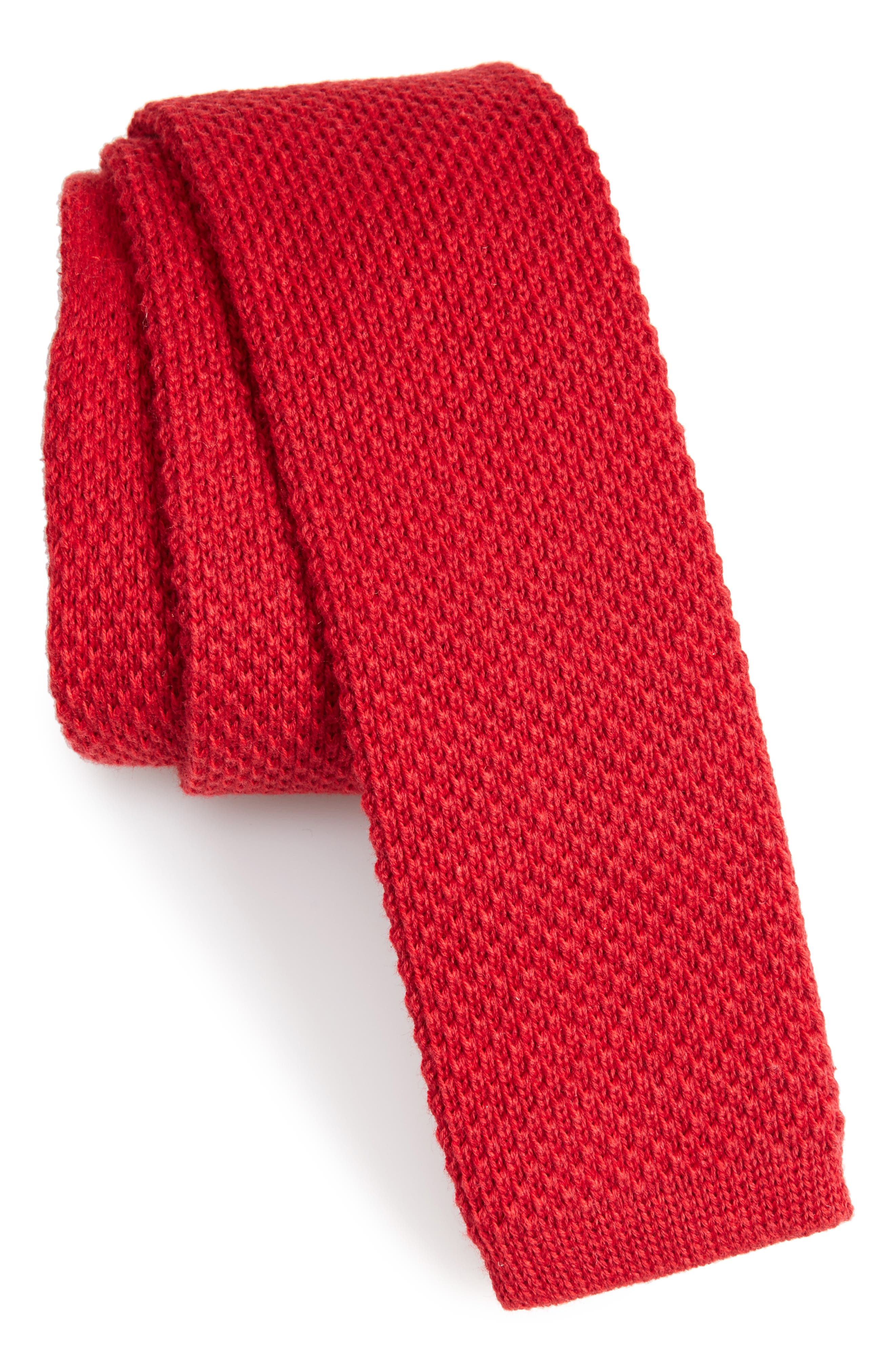 Skinny Knit Cotton Tie,                             Main thumbnail 1, color,                             RED