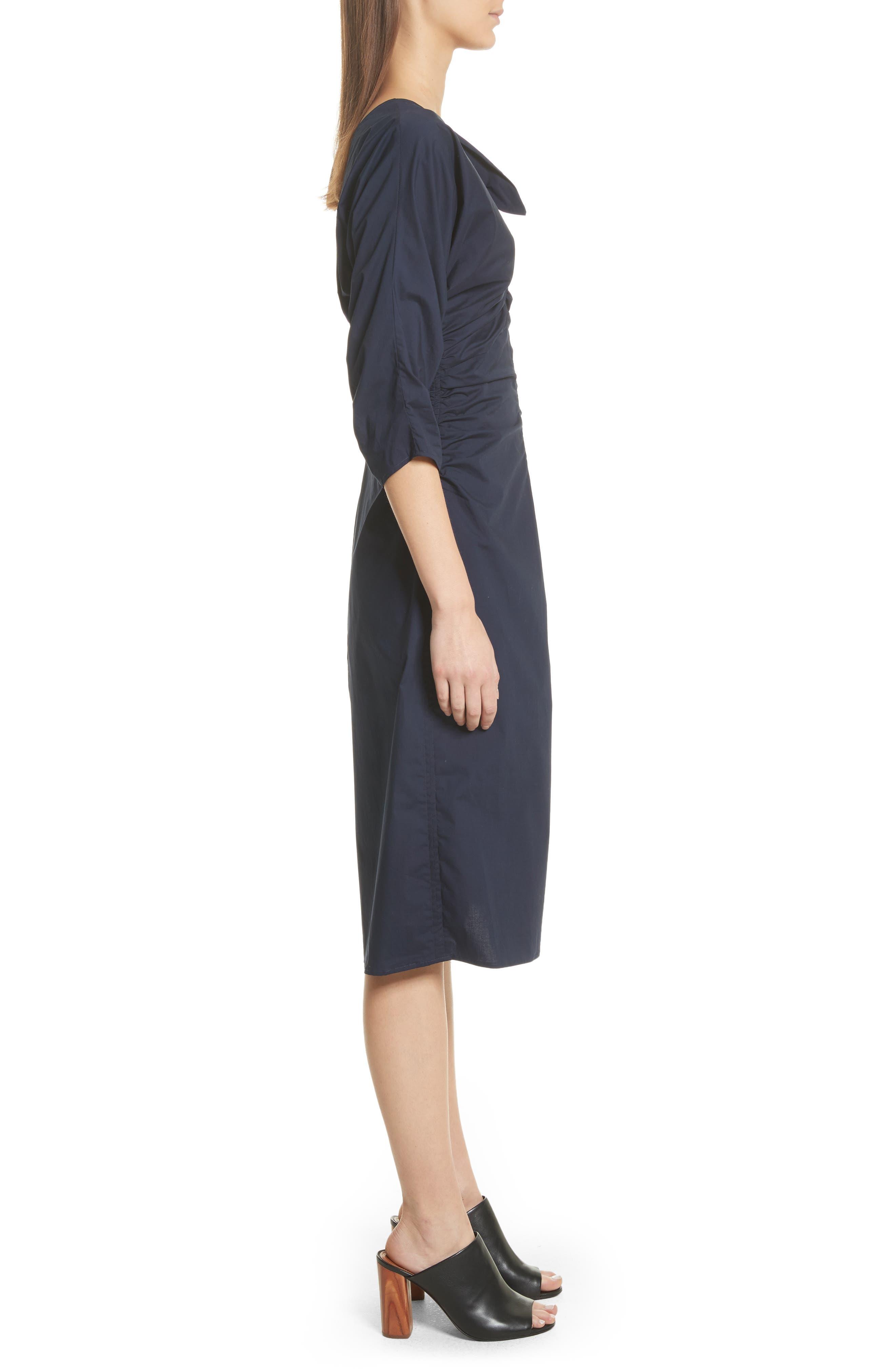 Clota Ruched One-Shoulder Poplin Dress,                             Alternate thumbnail 3, color,                             400