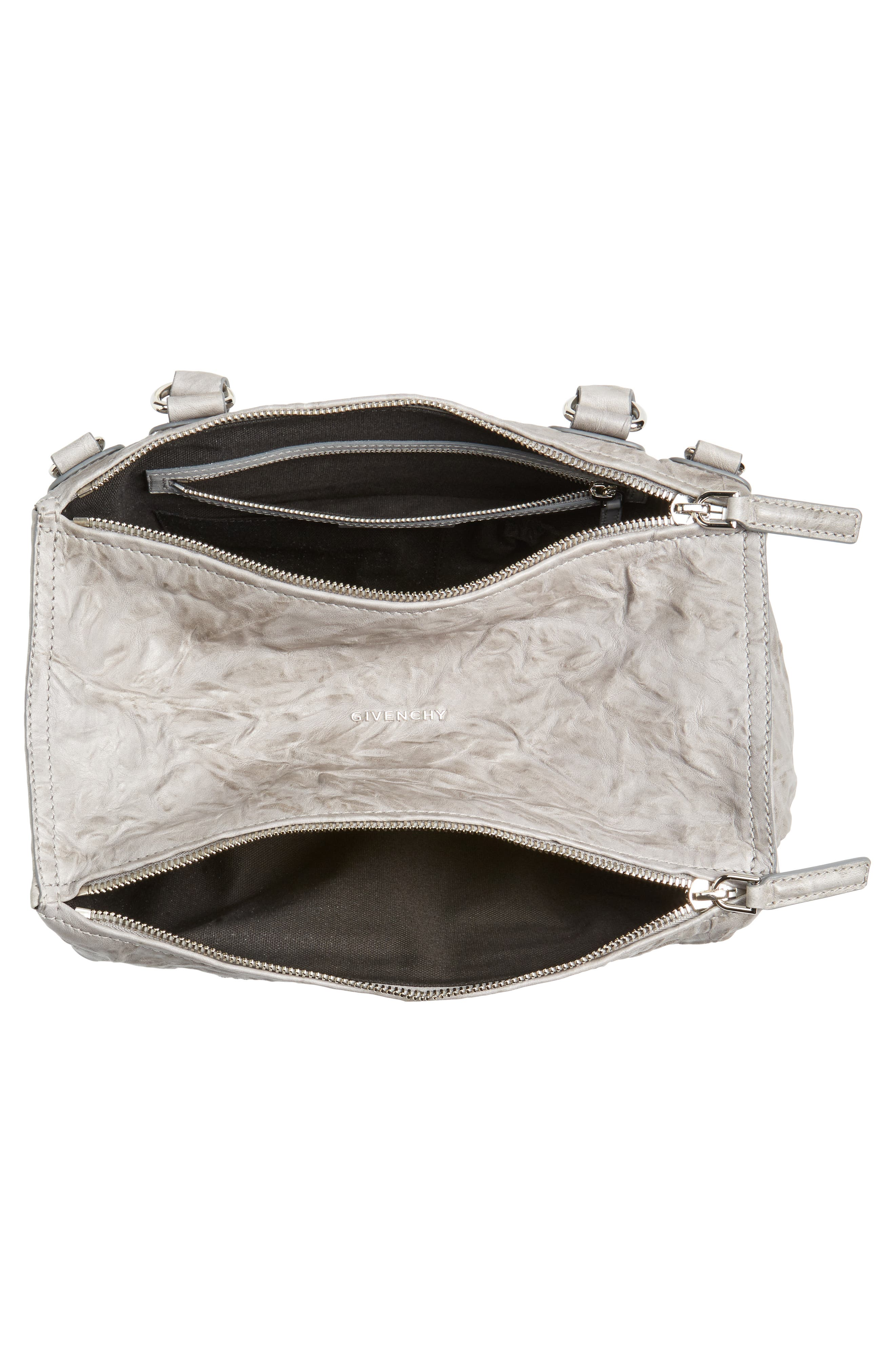 'Medium Pepe Pandora' Leather Satchel,                             Alternate thumbnail 4, color,                             PEARL GREY