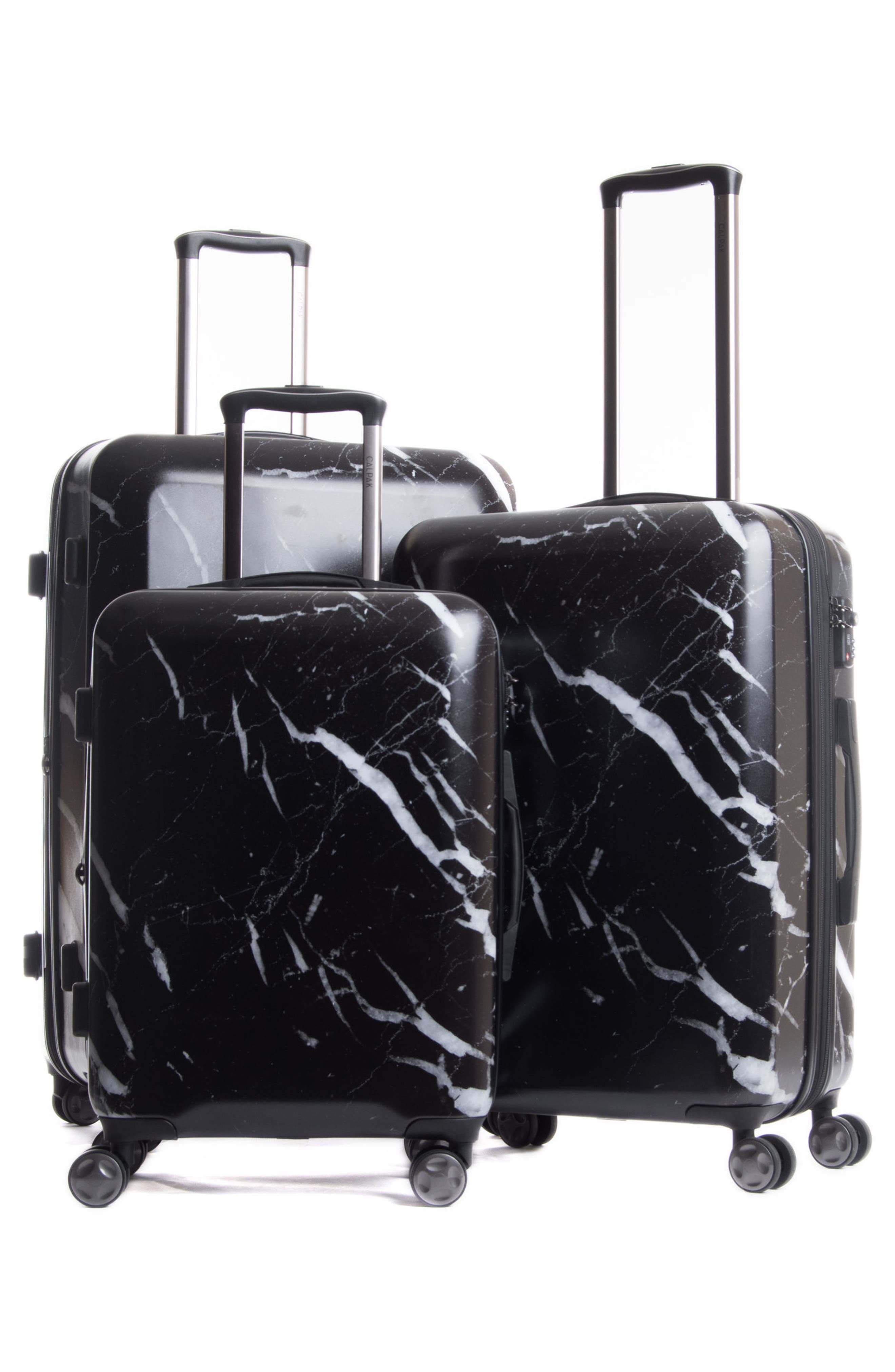 Astyll 3-Piece Marbled Luggage Set,                             Alternate thumbnail 5, color,                             BLACK