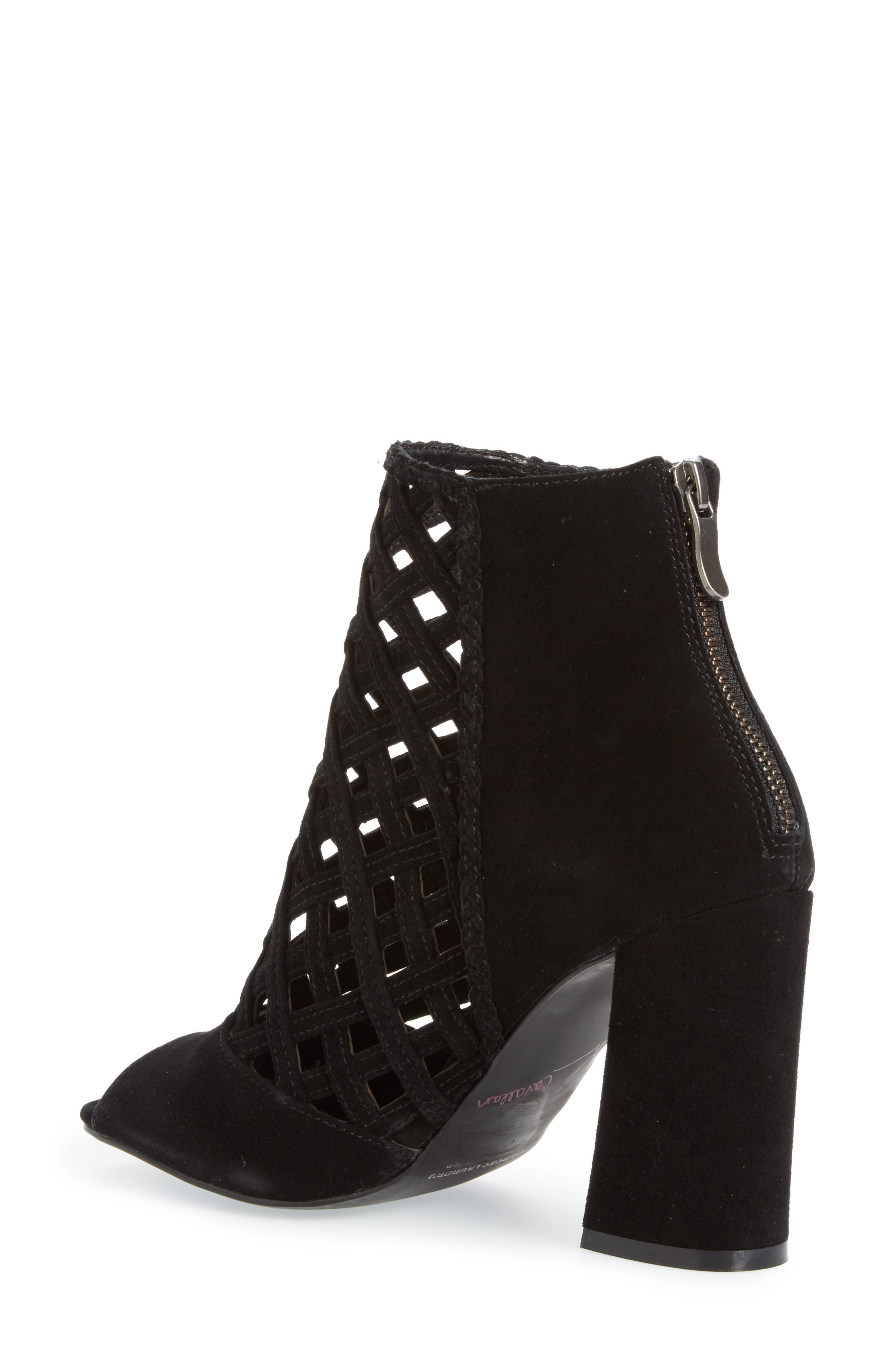 Luxembourg Cage Peep Toe Bootie,                             Alternate thumbnail 2, color,                             001
