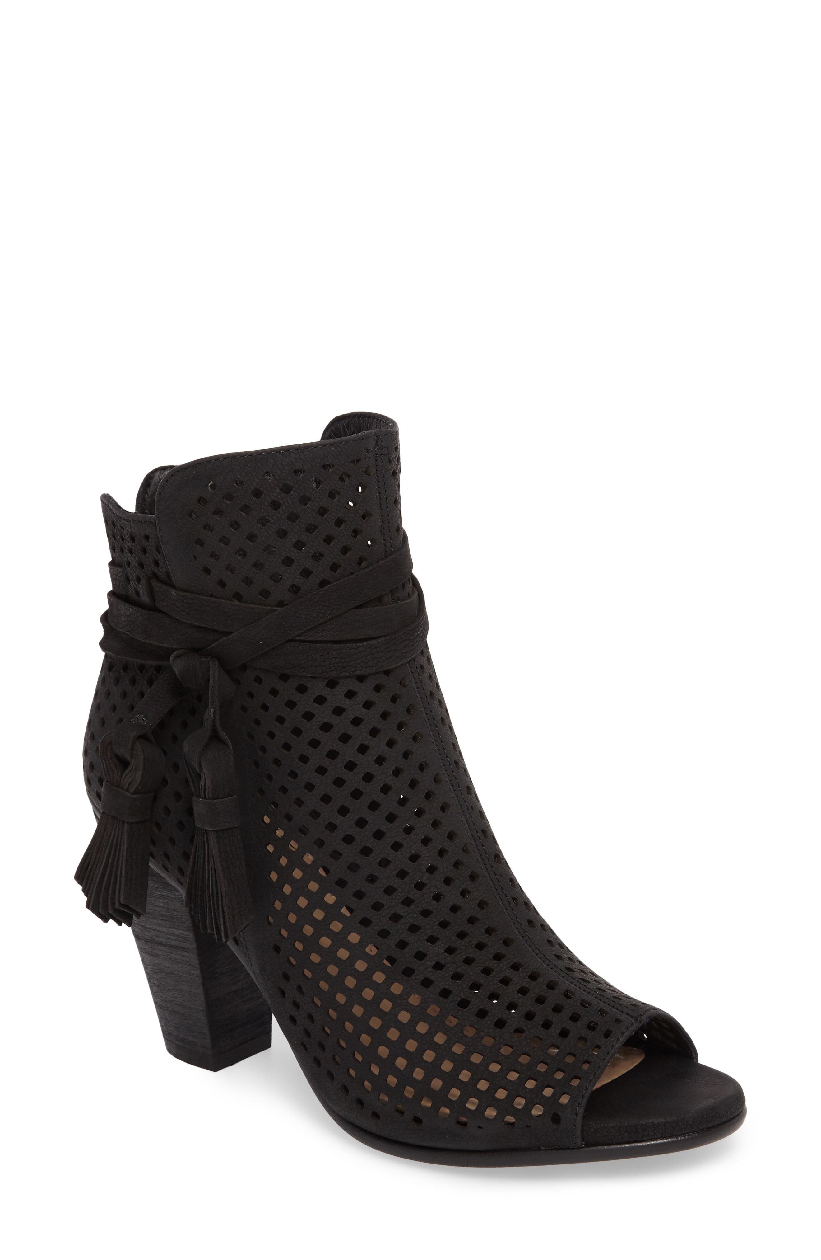 Kamey Perforated Open Toe Bootie,                             Main thumbnail 1, color,                             001
