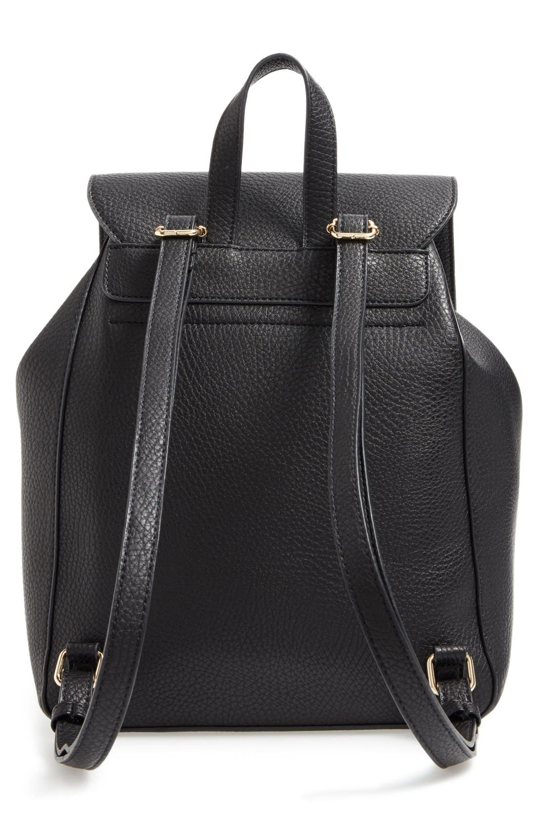 SOLE SOCIETY,                             'Iver' Faux Leather Drawstring Backpack,                             Alternate thumbnail 4, color,                             001