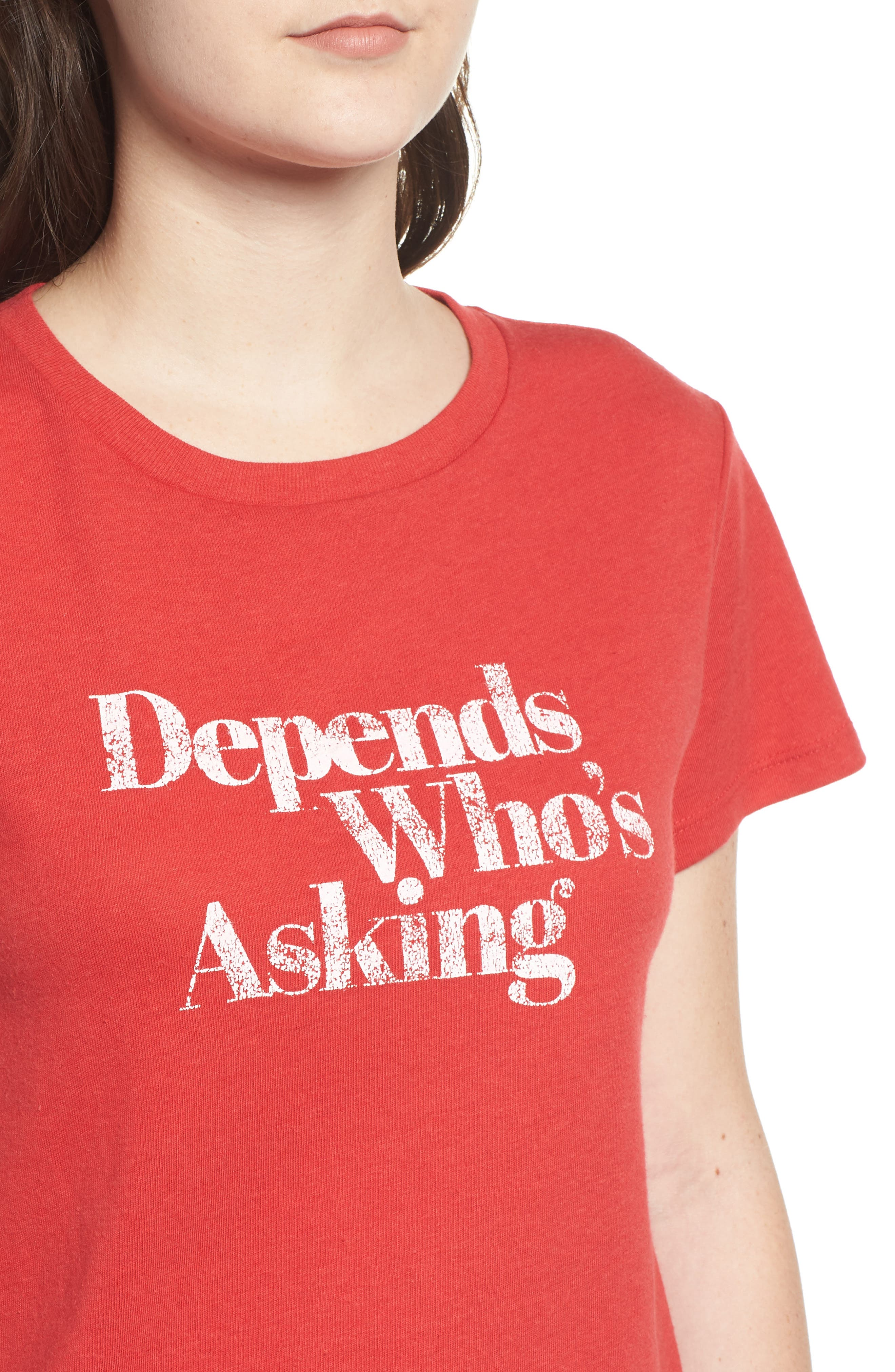 x Erin & Sara Depends Who's Asking Tee,                             Alternate thumbnail 4, color,                             RED