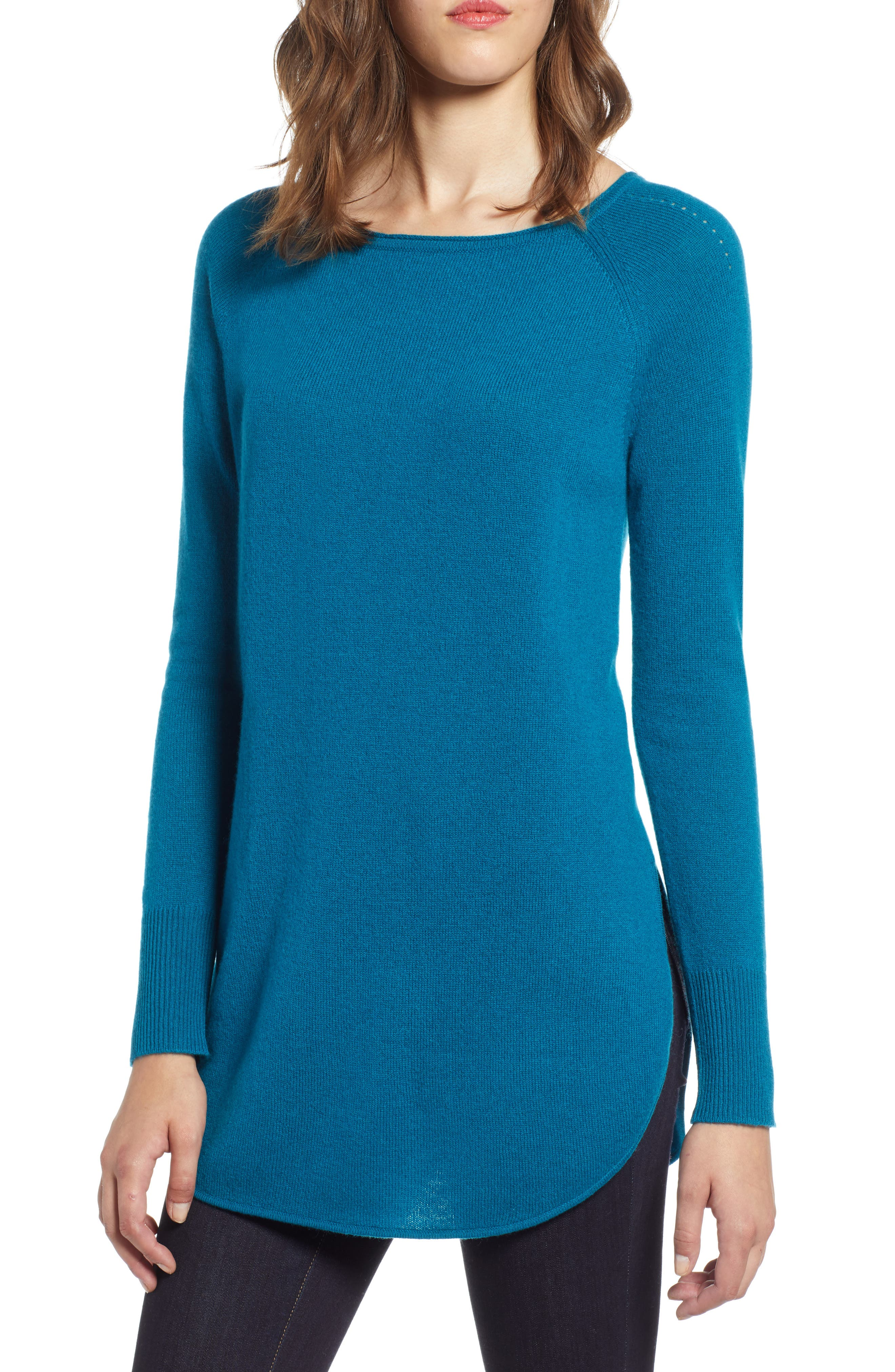 Shirttail Wool & Cashmere Boatneck Tunic,                         Main,                         color, TEAL GLOSS