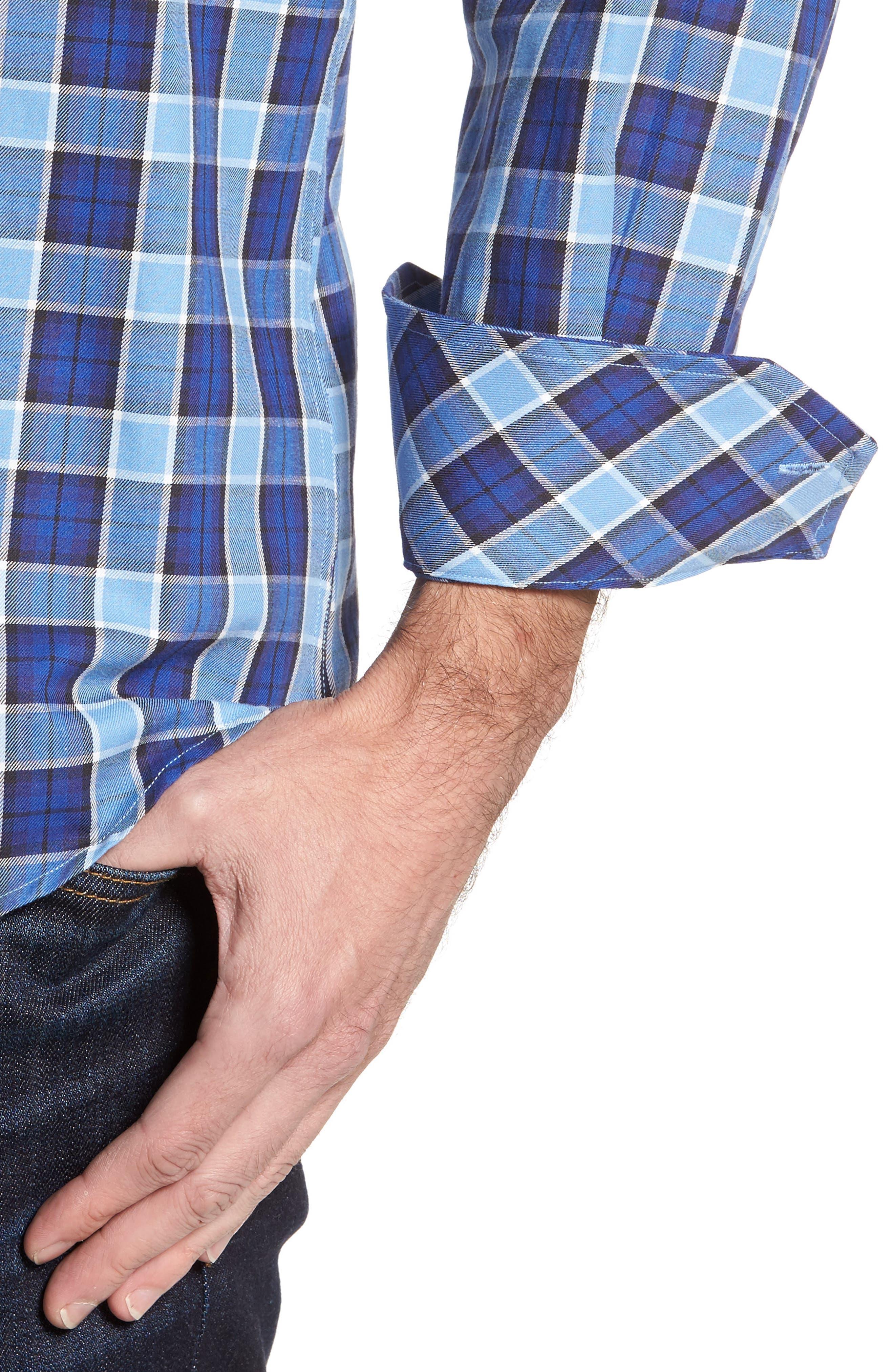 Boothville Check Sport Shirt,                             Alternate thumbnail 4, color,                             416