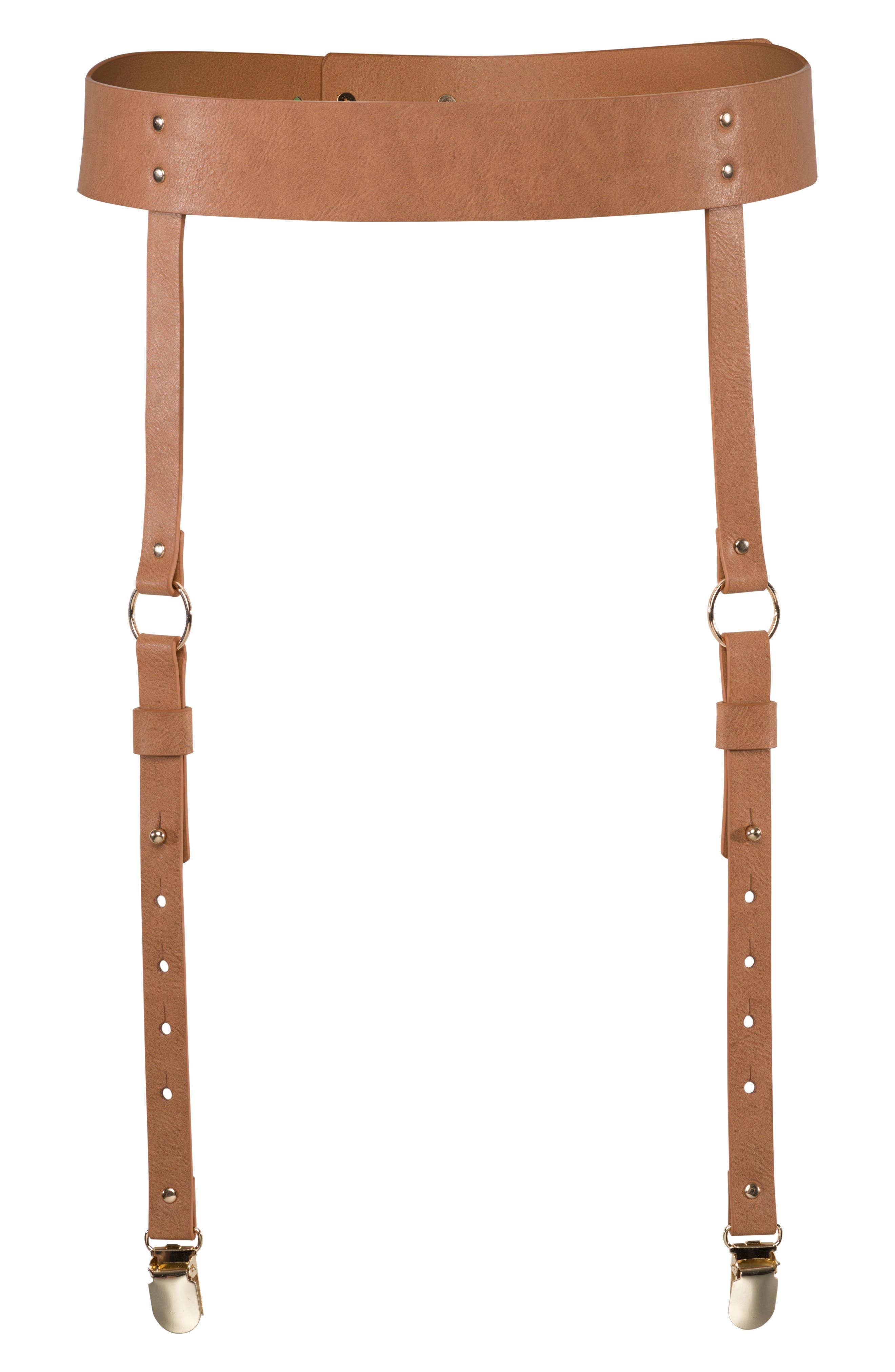 Maze Garter Belt,                         Main,                         color, BROWN