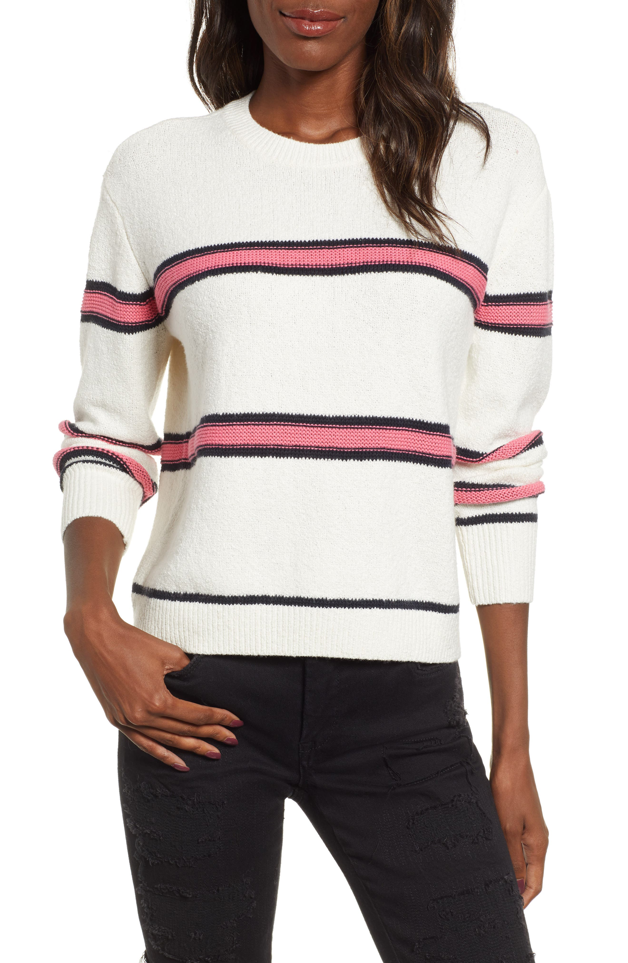 Spring Stripe Sweater,                             Main thumbnail 1, color,                             IVORY CLAUDIA STRIPE