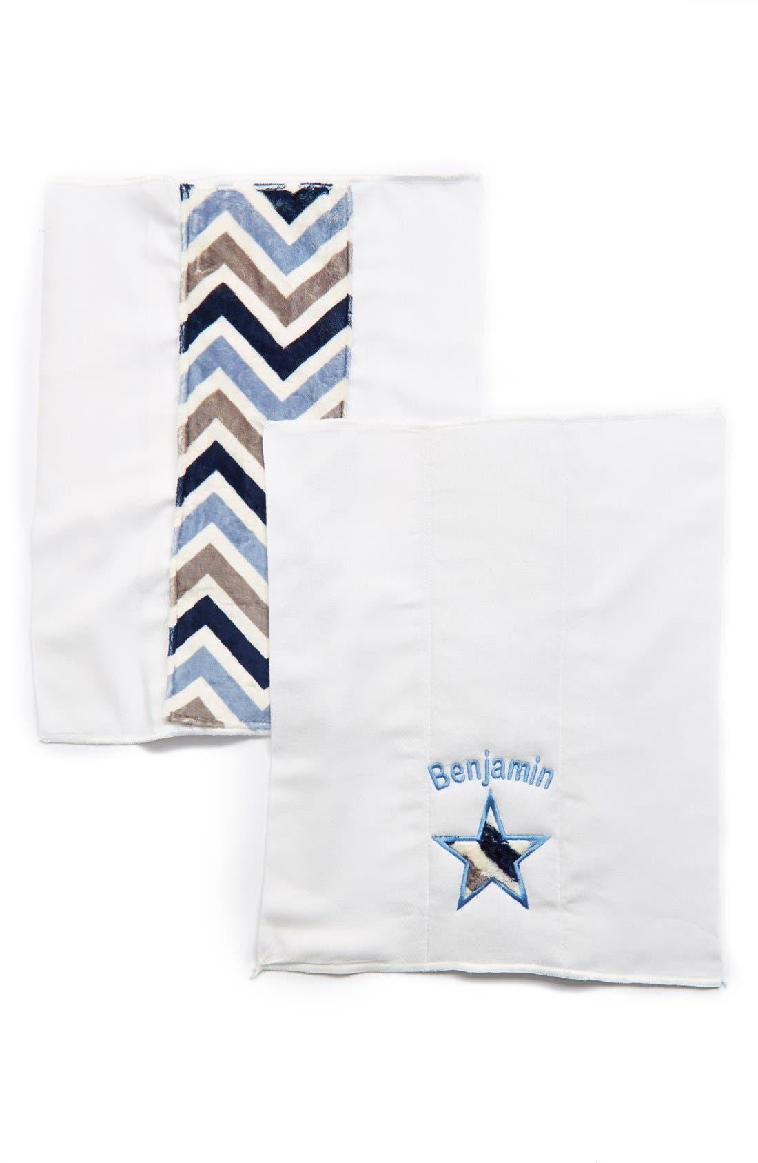 Personalized Burp Cloths,                             Main thumbnail 1, color,                             BLUE CHEVRON