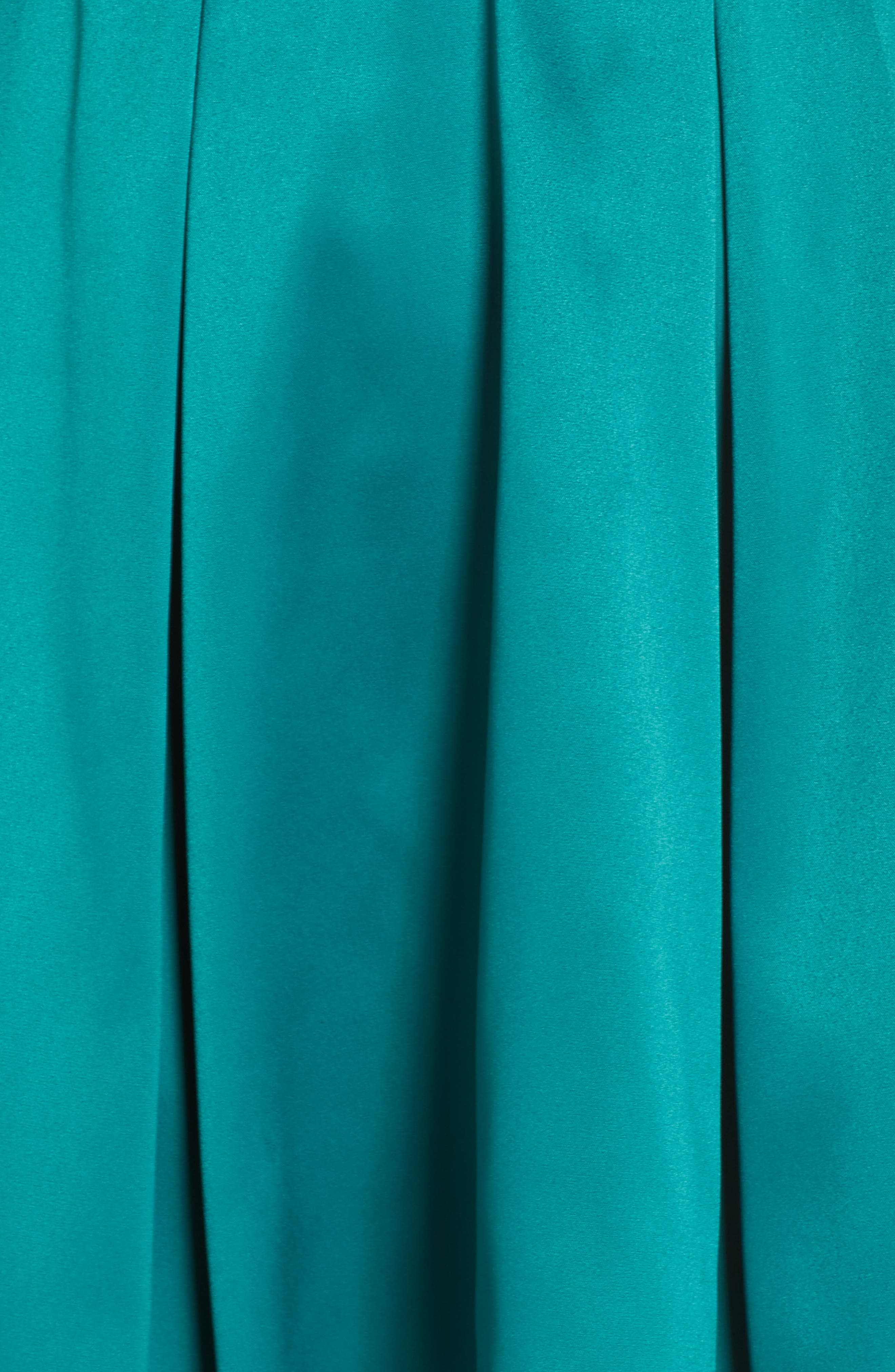Belted Stretch Satin High/Low Dress,                             Alternate thumbnail 6, color,                             EMERALD
