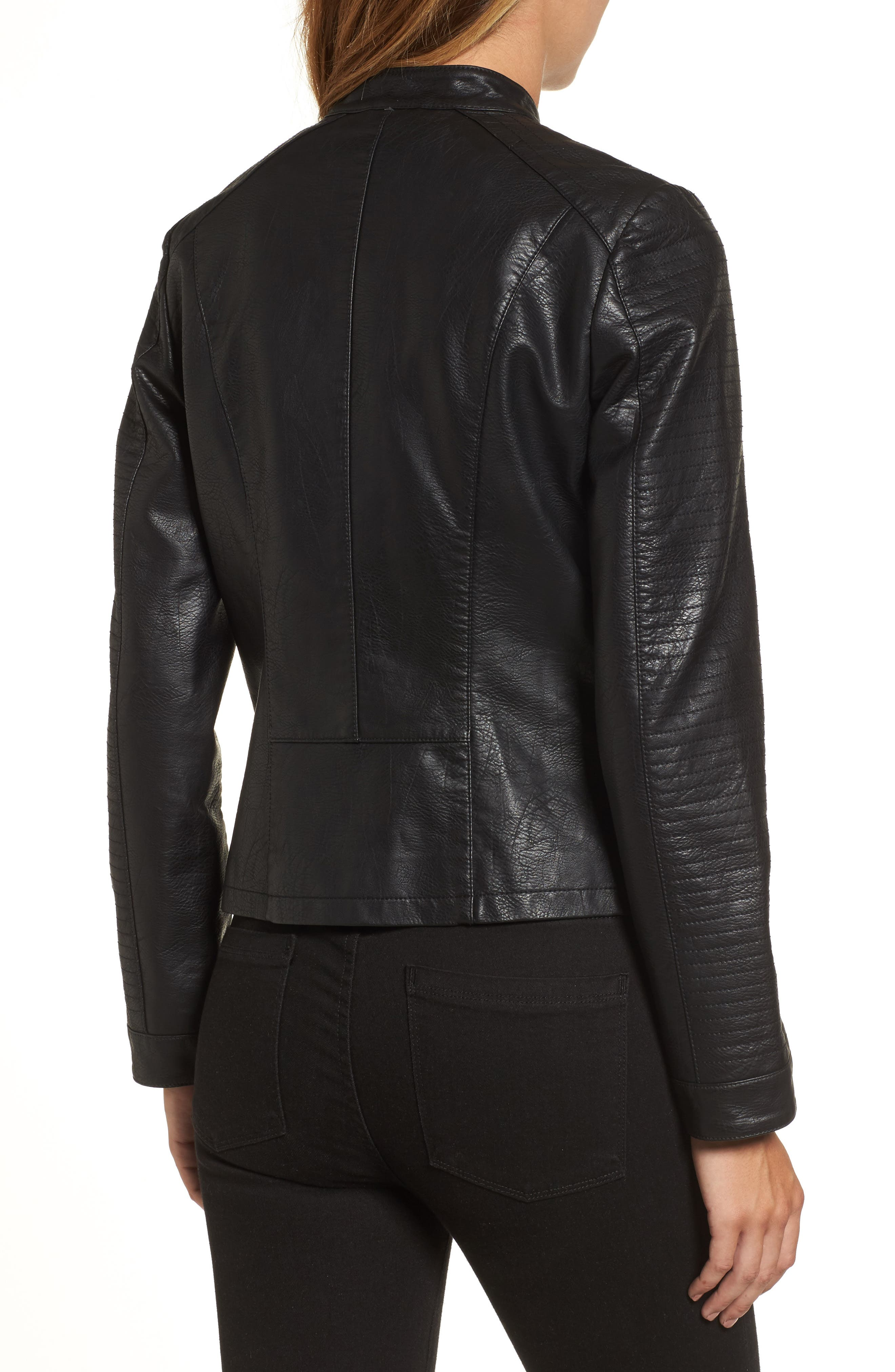 Quilted Faux Leather Moto Jacket,                             Alternate thumbnail 2, color,                             BLACK