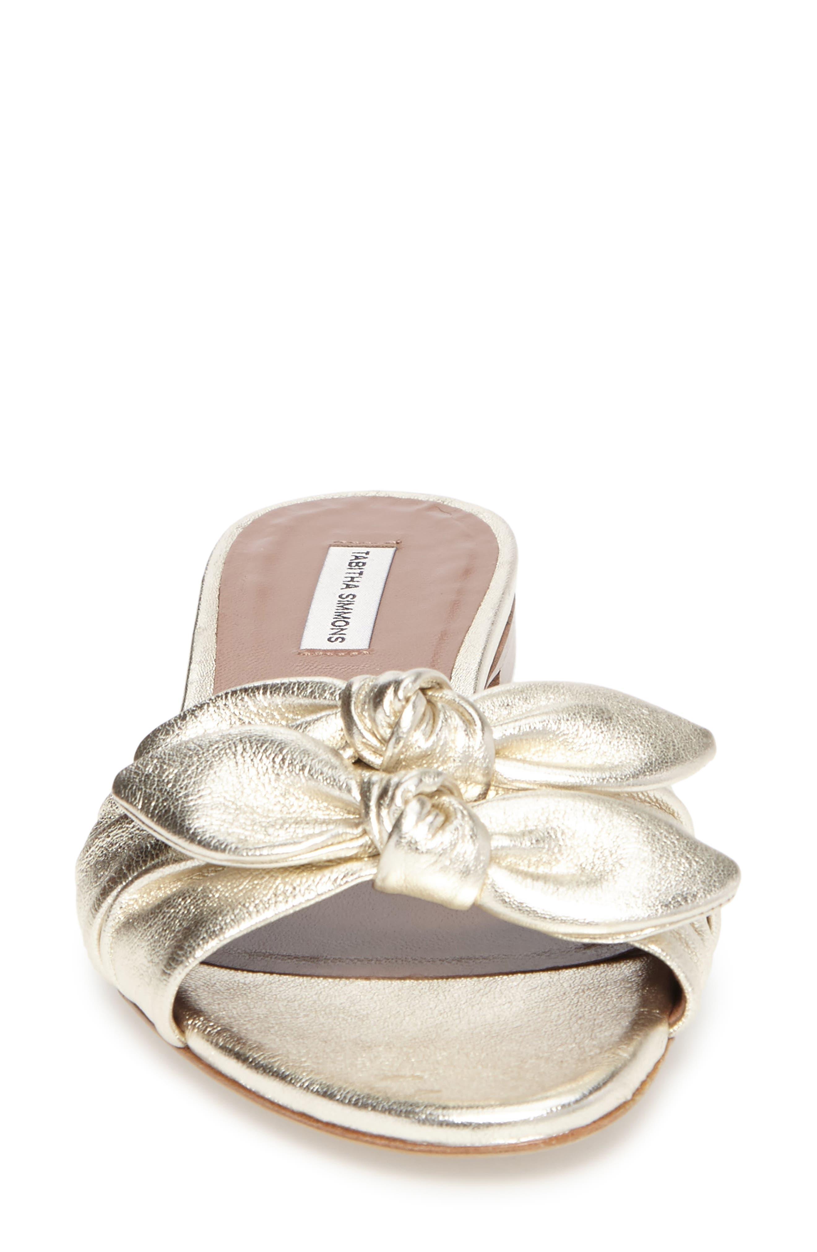 Cleo Knotted Bow Slide Sandal,                             Alternate thumbnail 4, color,                             040