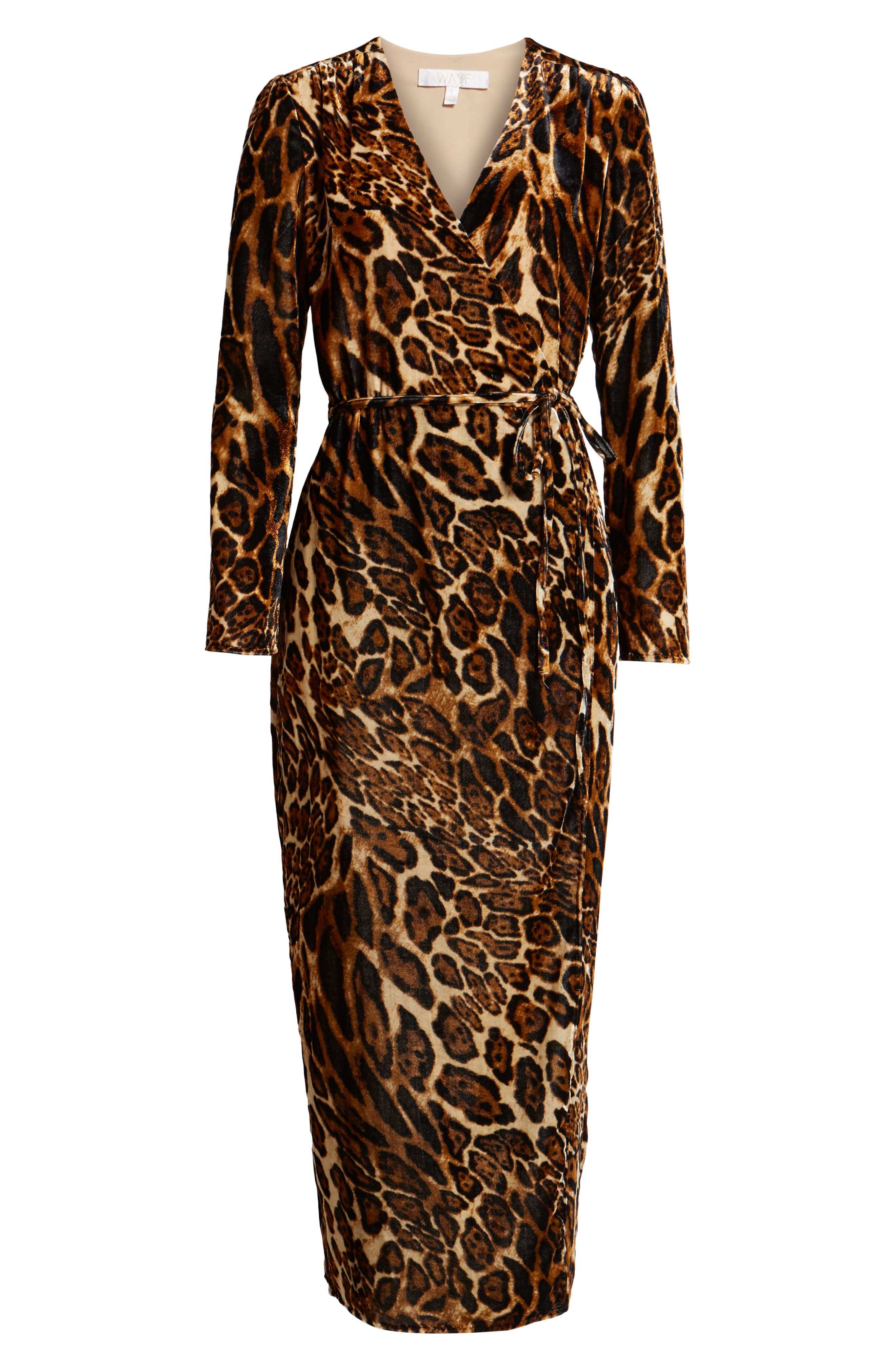 Gwyneth Velvet Wrap Midi Dress,                             Alternate thumbnail 7, color,                             LEOPARD