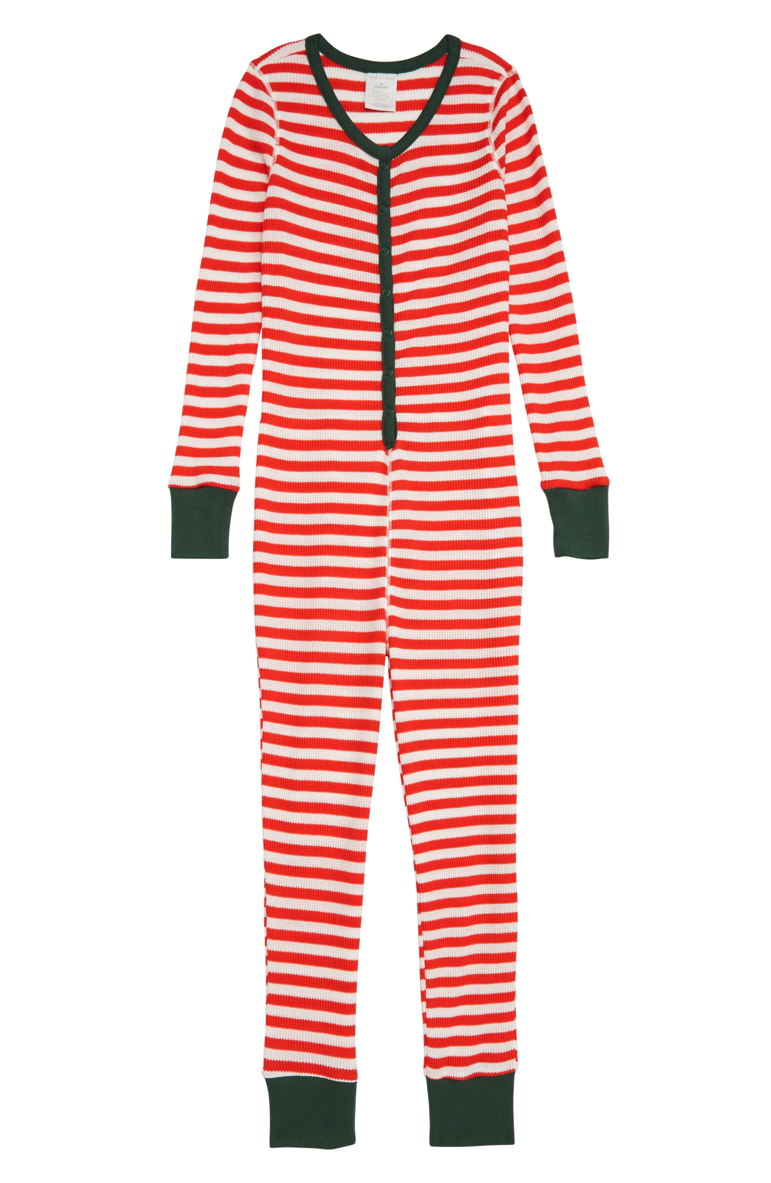 Thermal Fitted One-Piece Pajamas,                         Main,                         color, RED BLOOM STRIPE