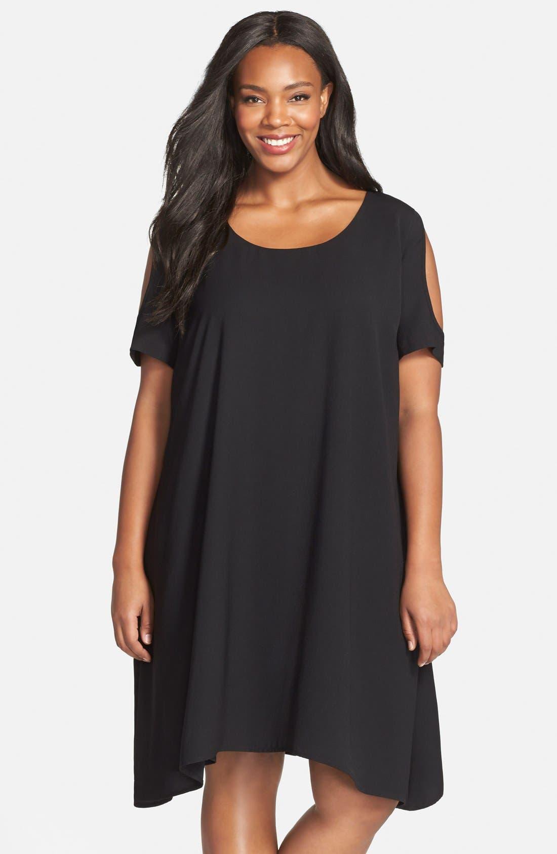 Cold Shoulder Swing Dress,                         Main,                         color, 001