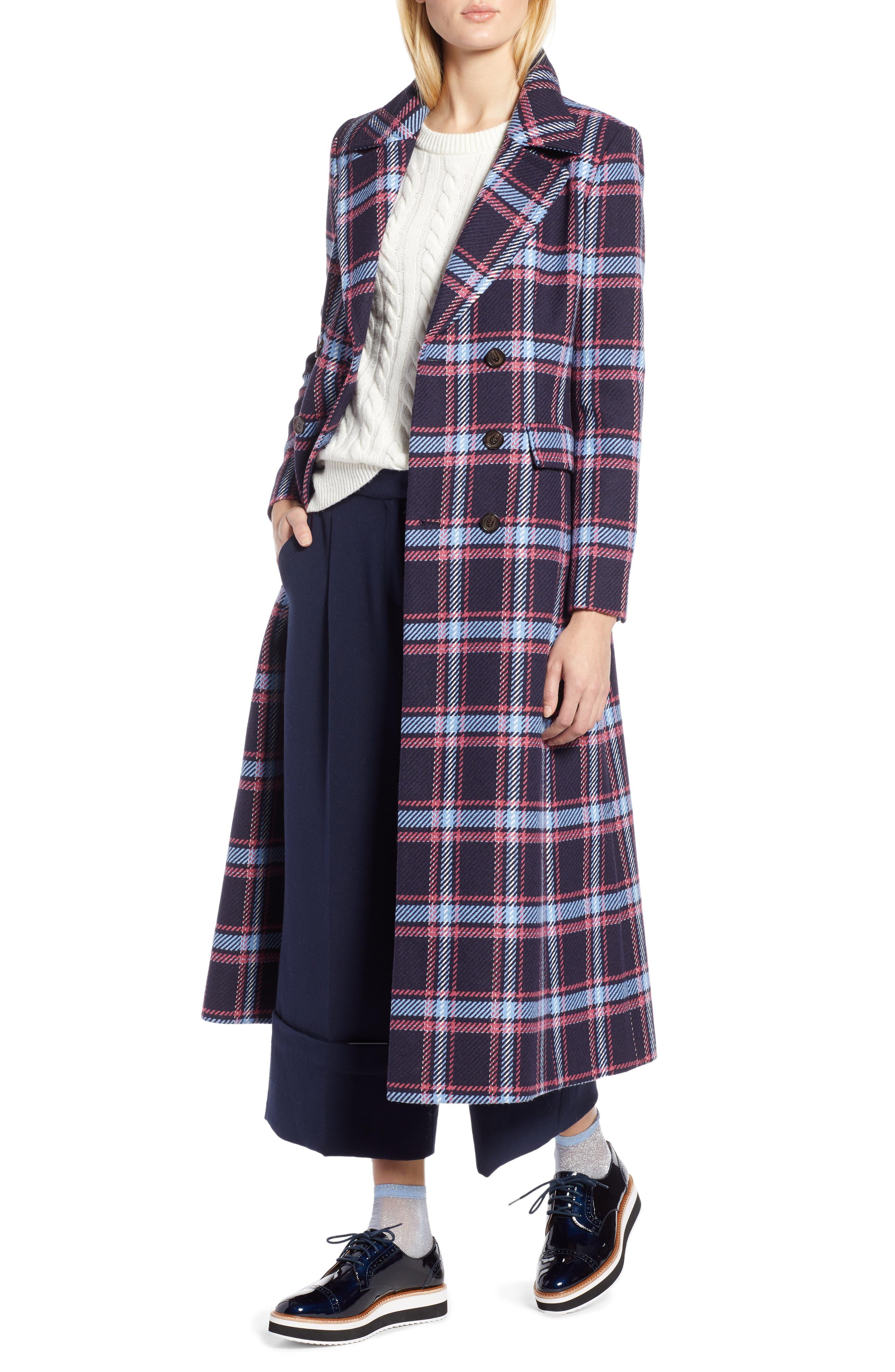 HALOGEN<SUP>®</SUP> x Atlantic-Pacific Long Plaid Coat, Main, color, 410