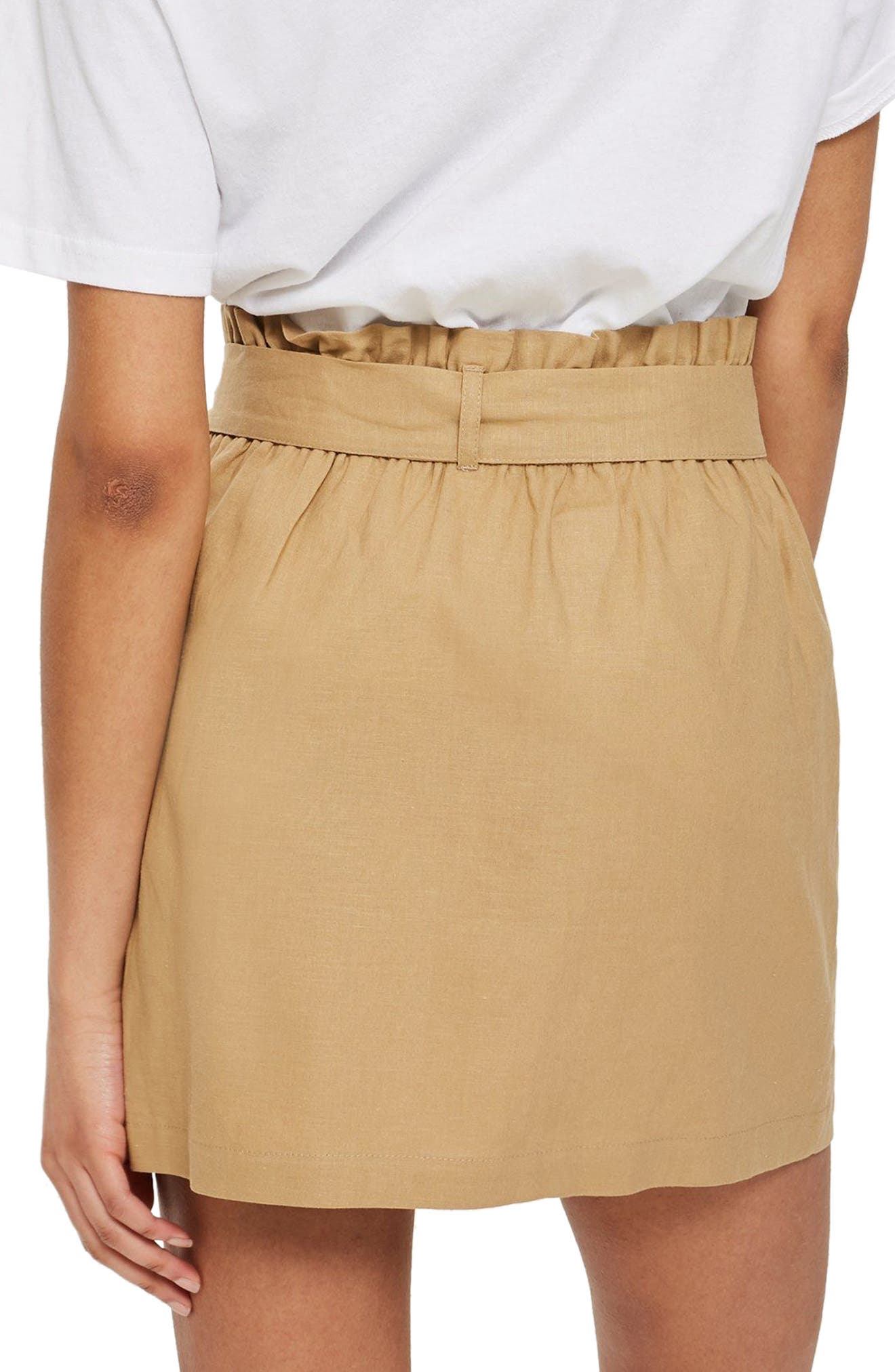 Linen Button Paperbag Miniskirt,                             Alternate thumbnail 2, color,                             CAMEL