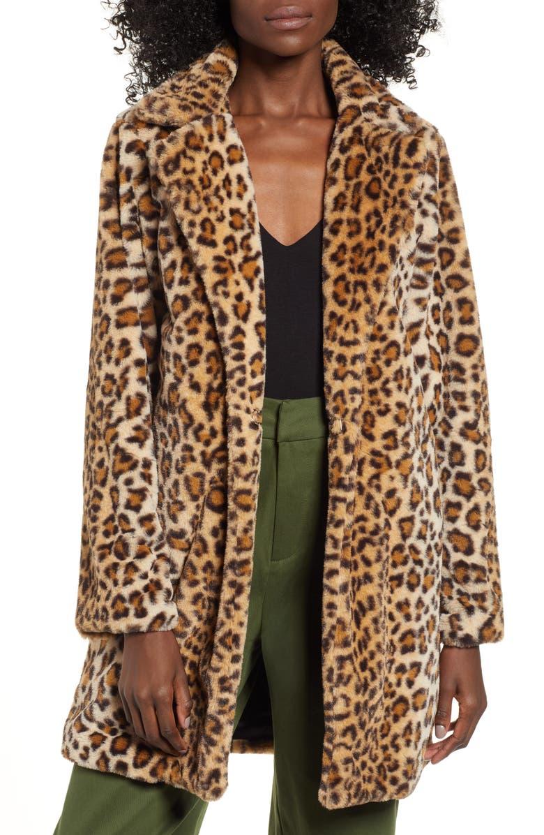 I.AM.GIA Stefani Leopard Print Faux Fur Coat, Main, color, LEOPARD