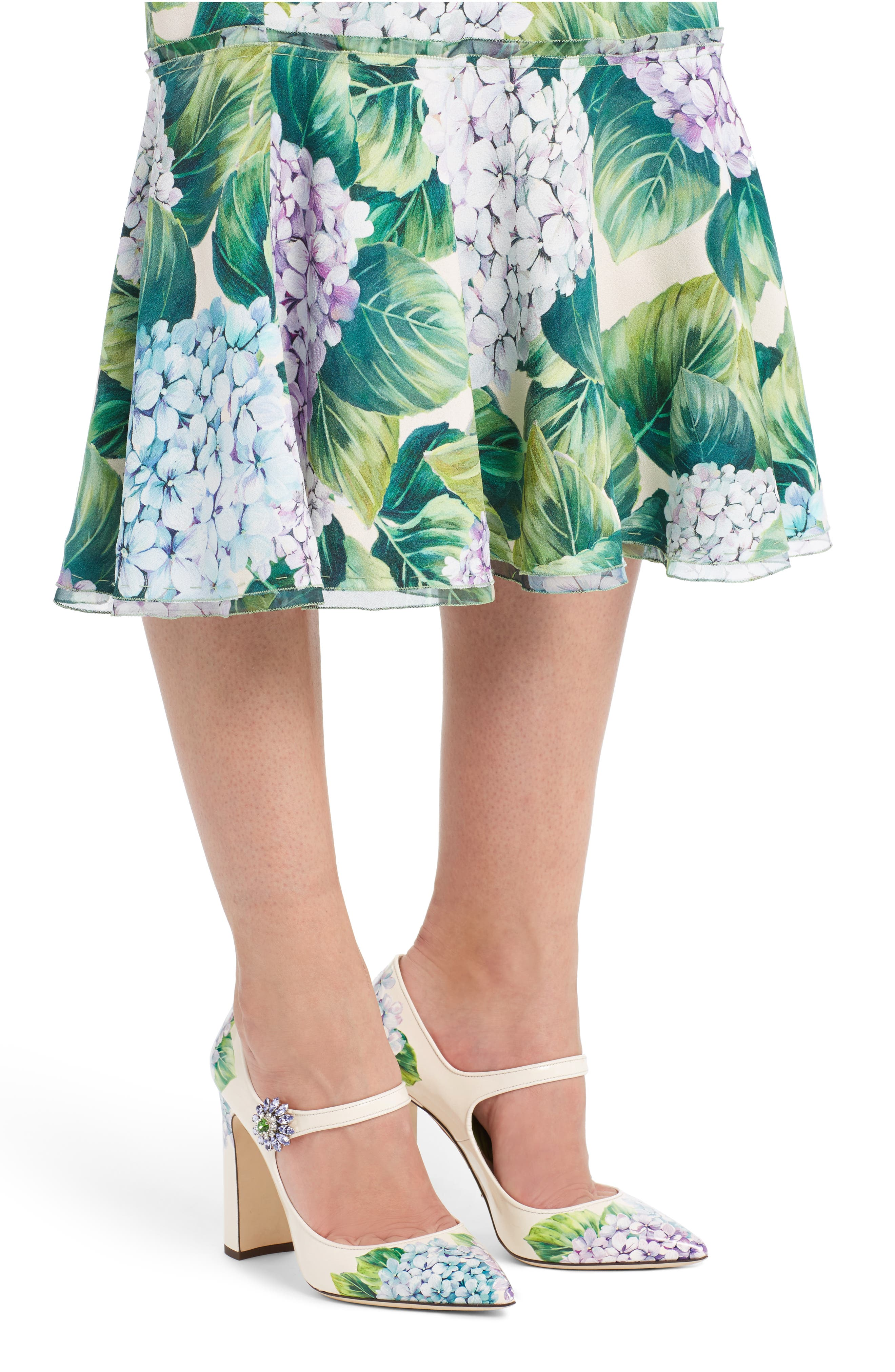 Hydrangea Print Ruffle Hem Skirt,                             Alternate thumbnail 4, color,                             300