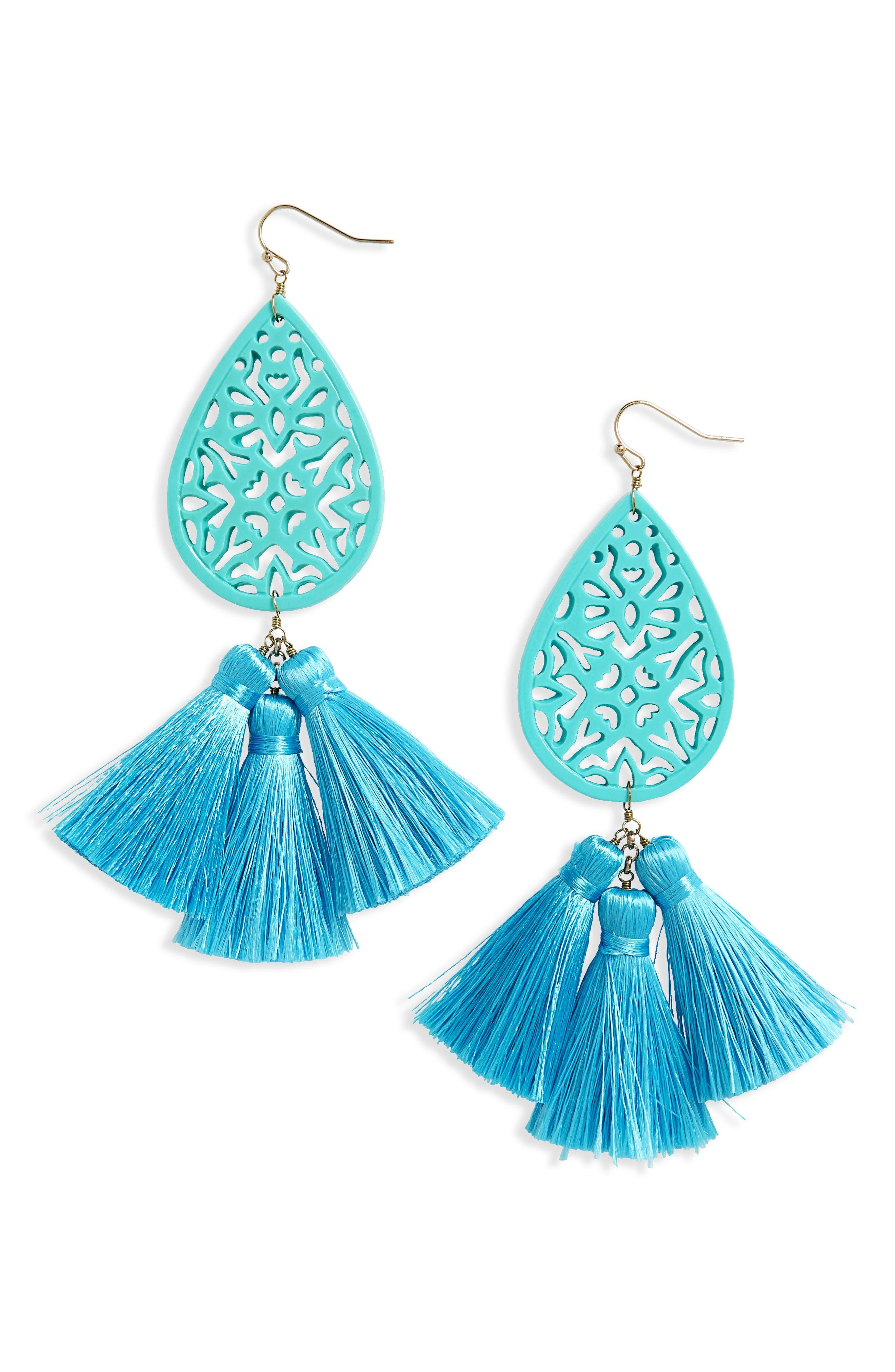 Tassel Drop Earrings, Main, color, TURQUOISE