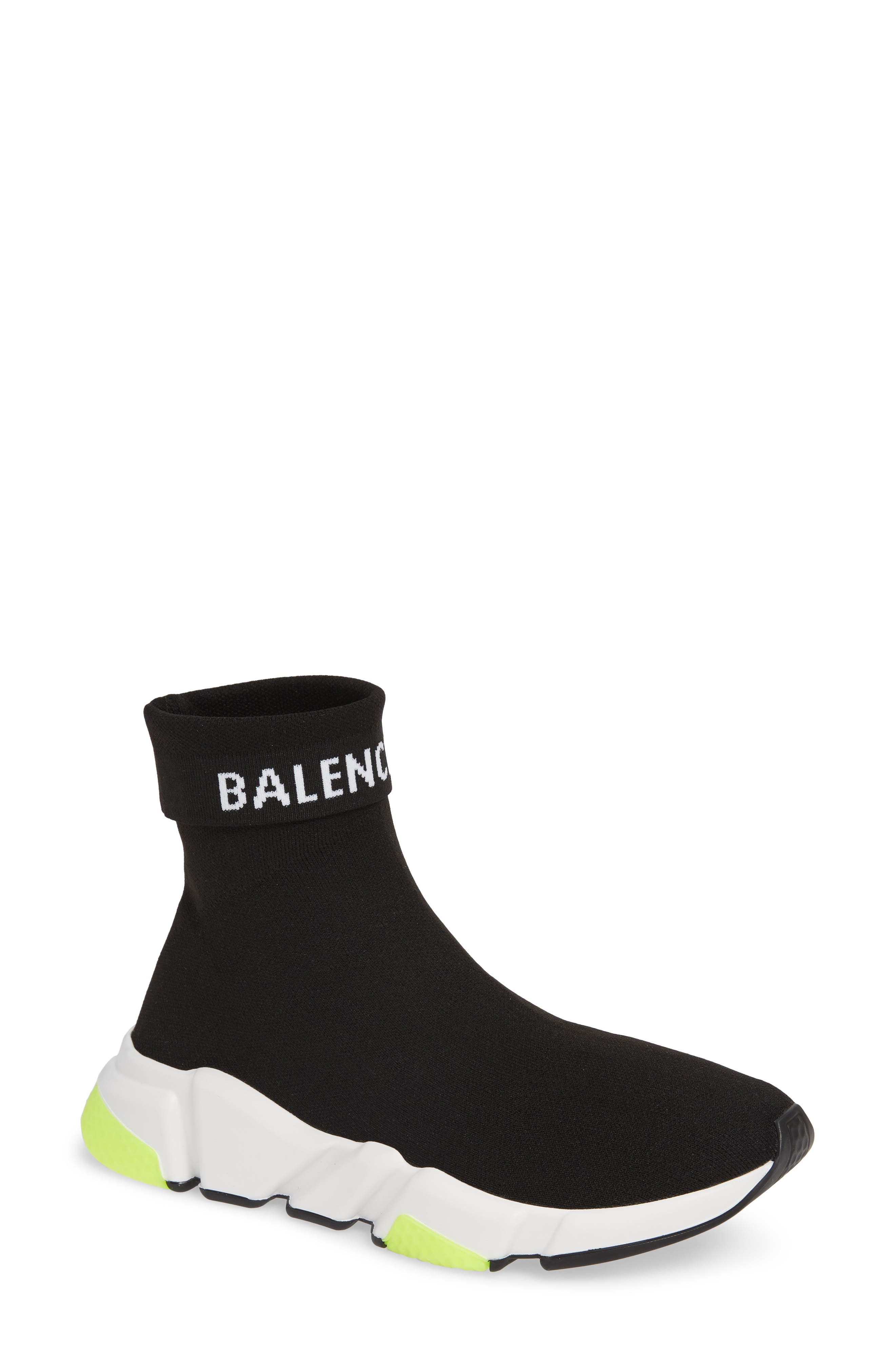 Hi Speed Logo Sock Sneaker,                         Main,                         color, BLACK/ WHITE/ NEON