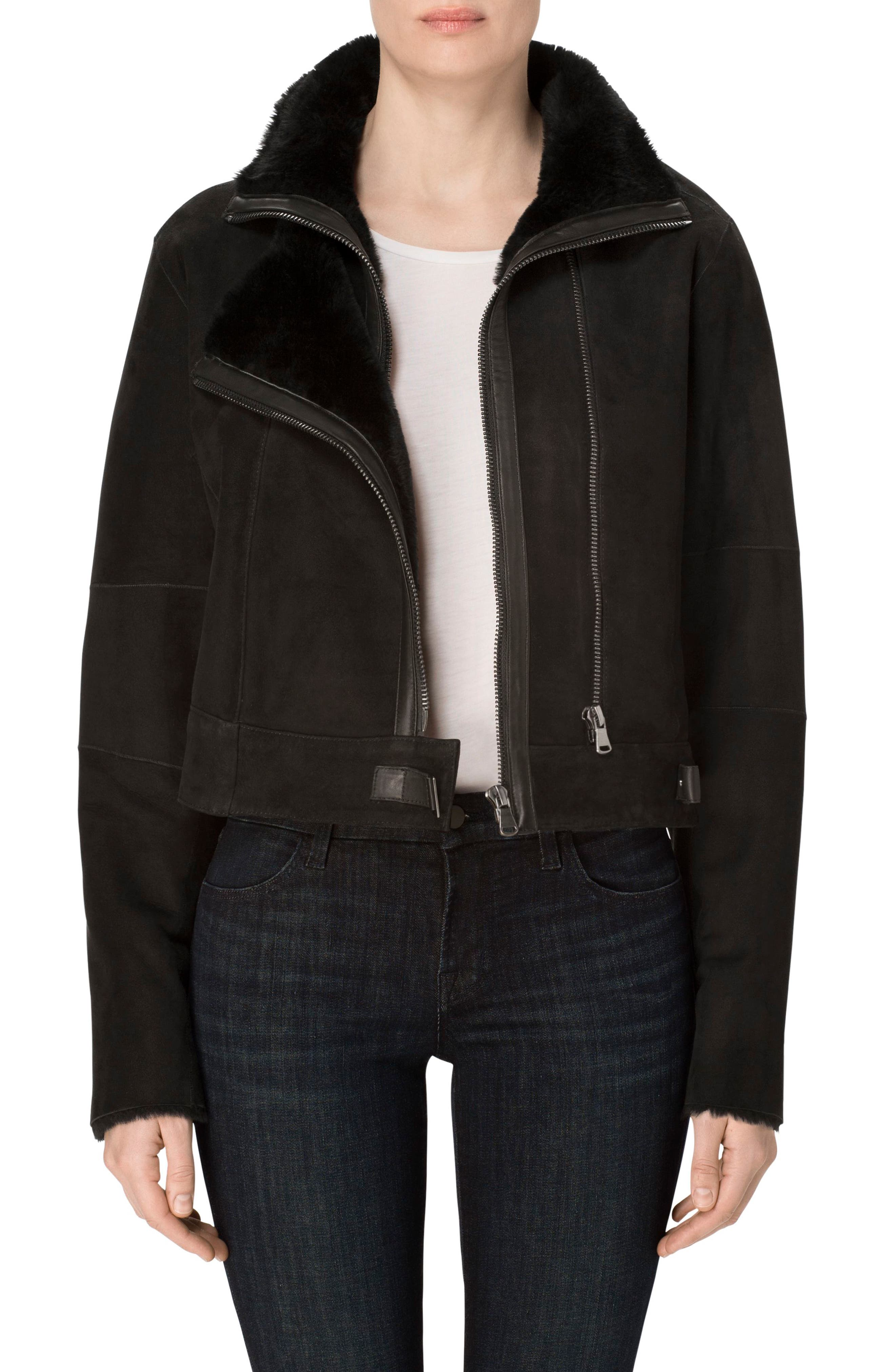 Camilla Suede Moto Jacket with Genuine Shearling,                             Main thumbnail 1, color,                             001