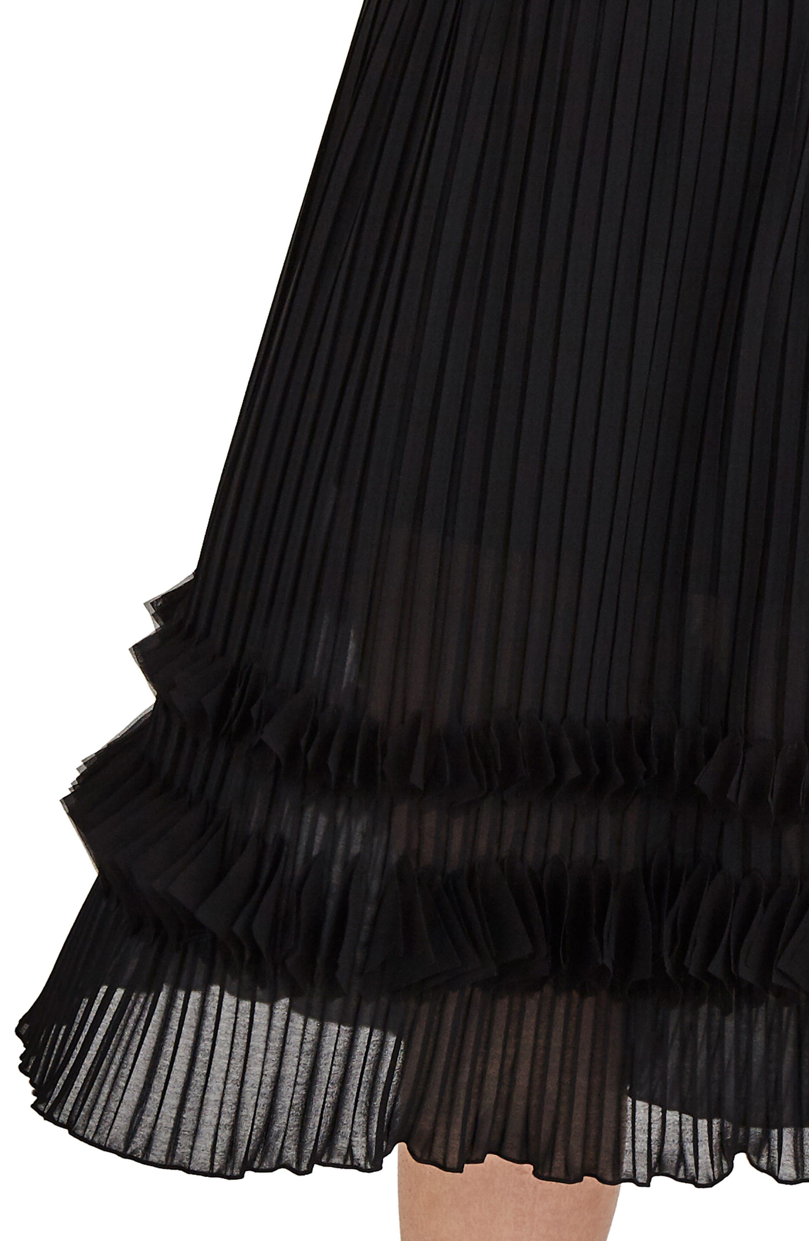 Pleated Chiffon Midi Skirt,                             Alternate thumbnail 4, color,                             001