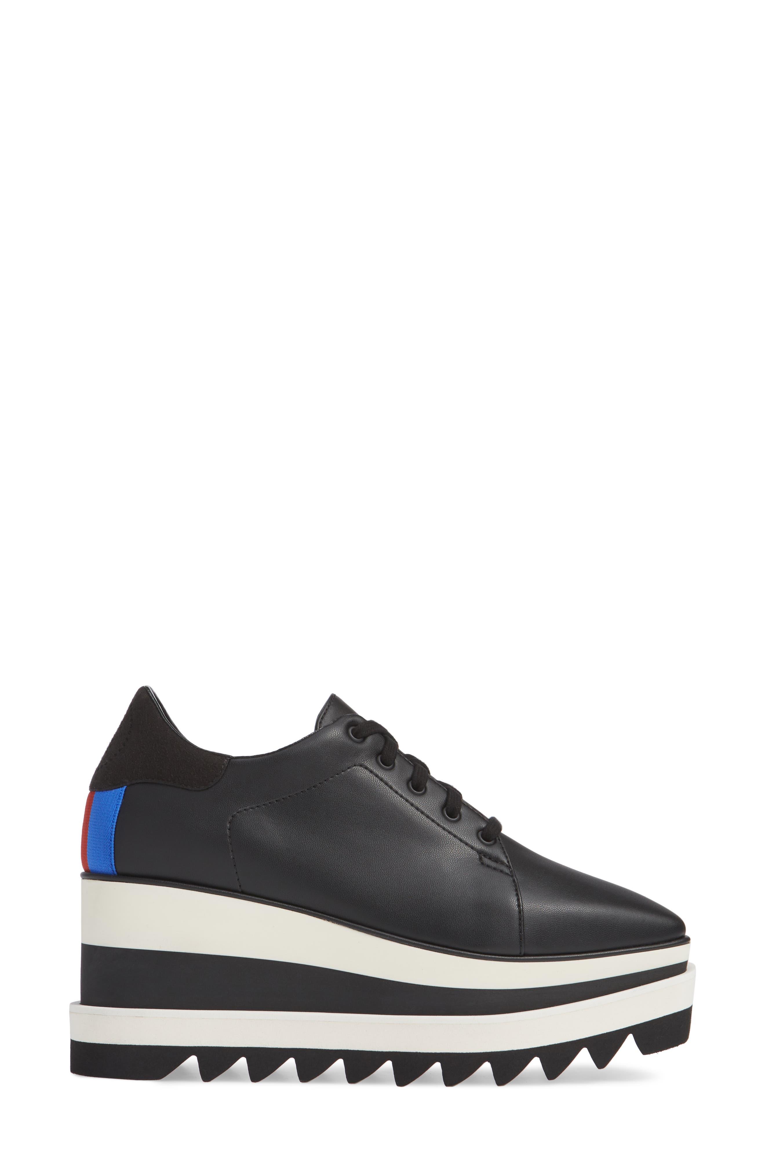 Sneak-Elyse Flatform Sneaker,                             Alternate thumbnail 3, color,                             BLACK