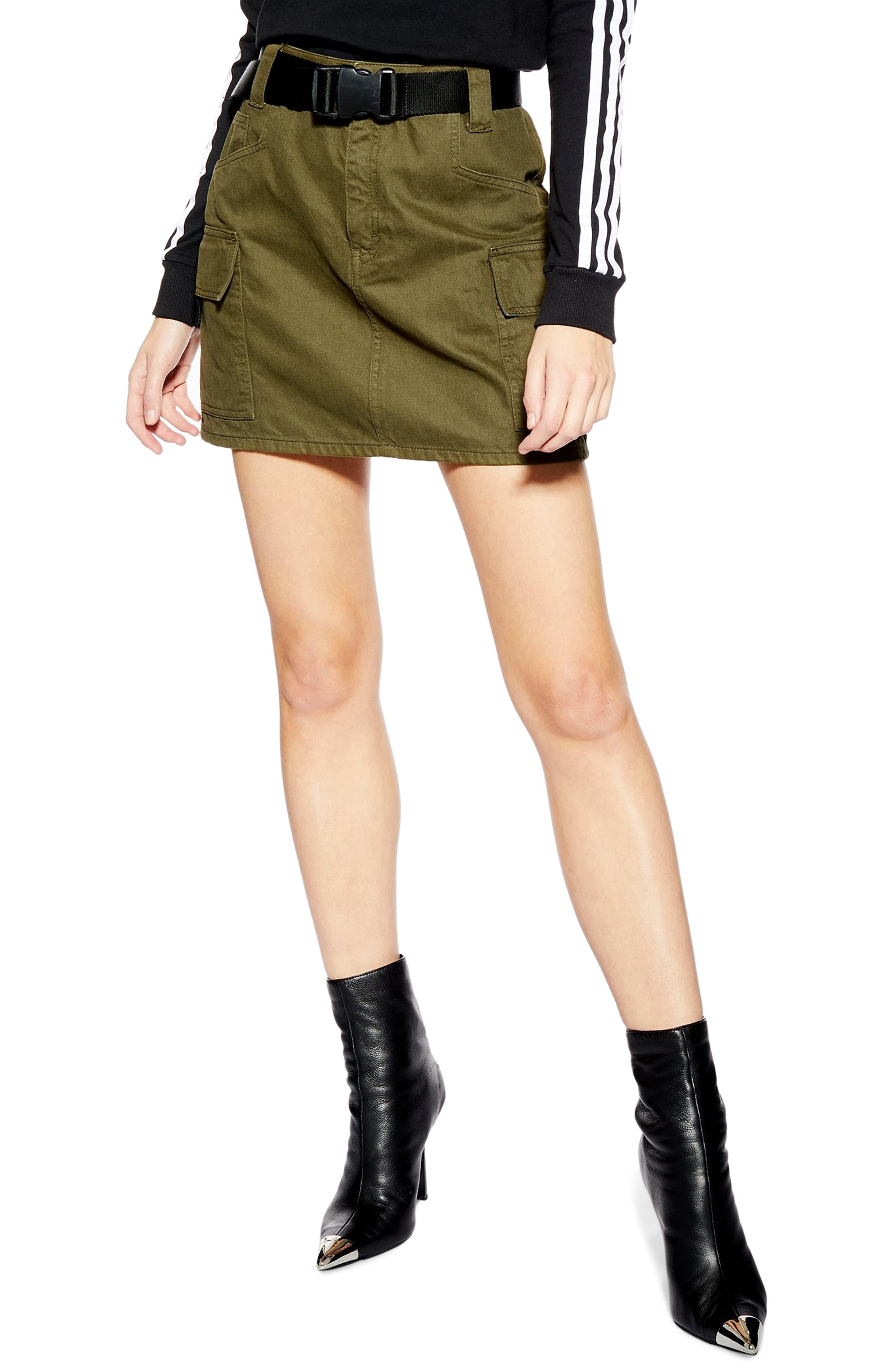 Topshop Utility Denim Miniskirt, US (fits like 14) - Green