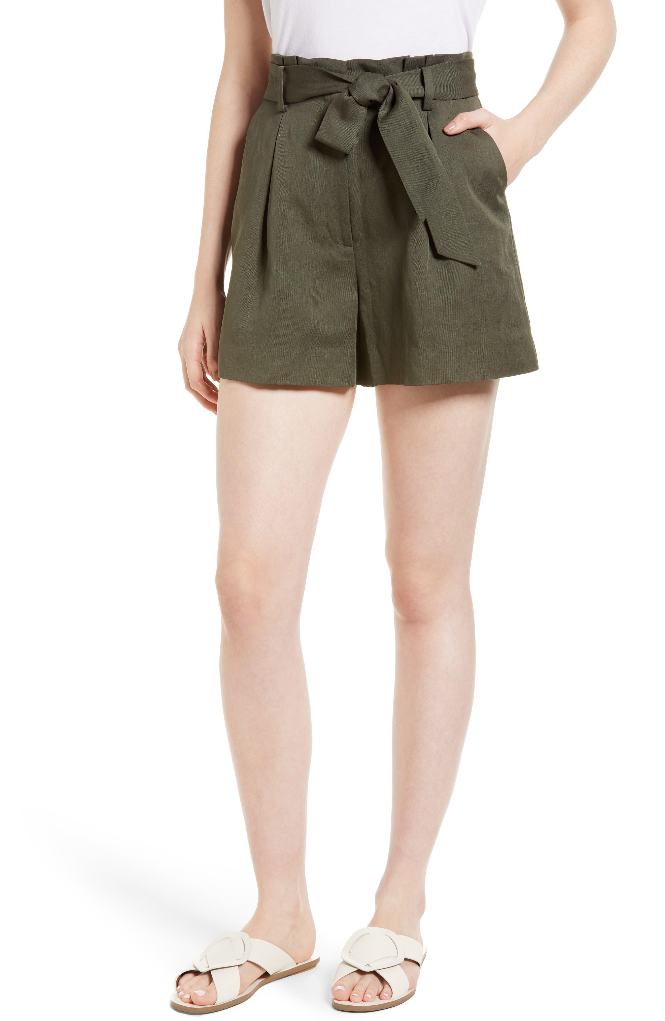 Paperbag Waist Linen & Cotton Blend Shorts,                         Main,                         color, 301