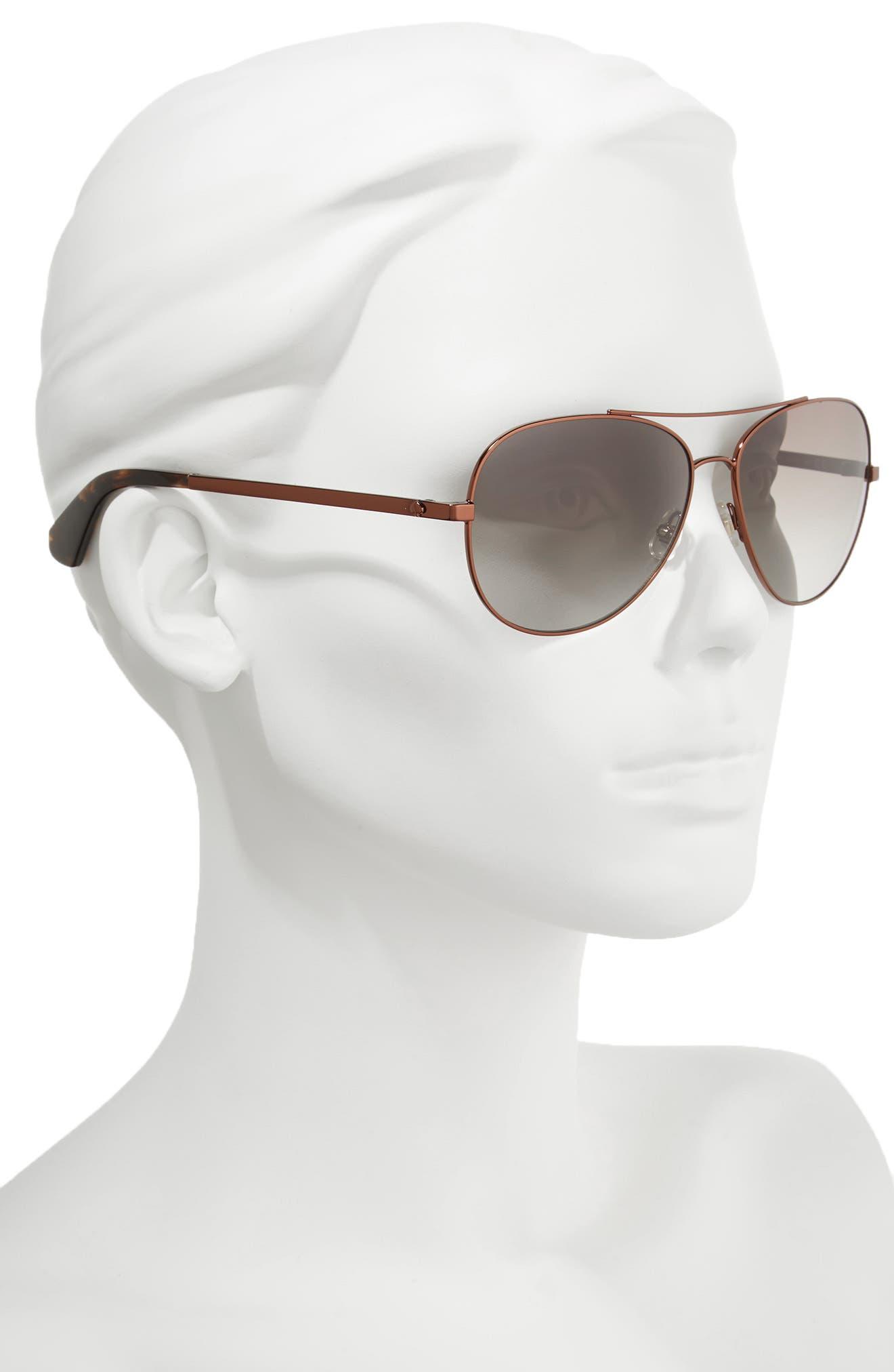 avaline 58mm aviator sunglasses,                             Alternate thumbnail 2, color,                             BROWN HAVANA